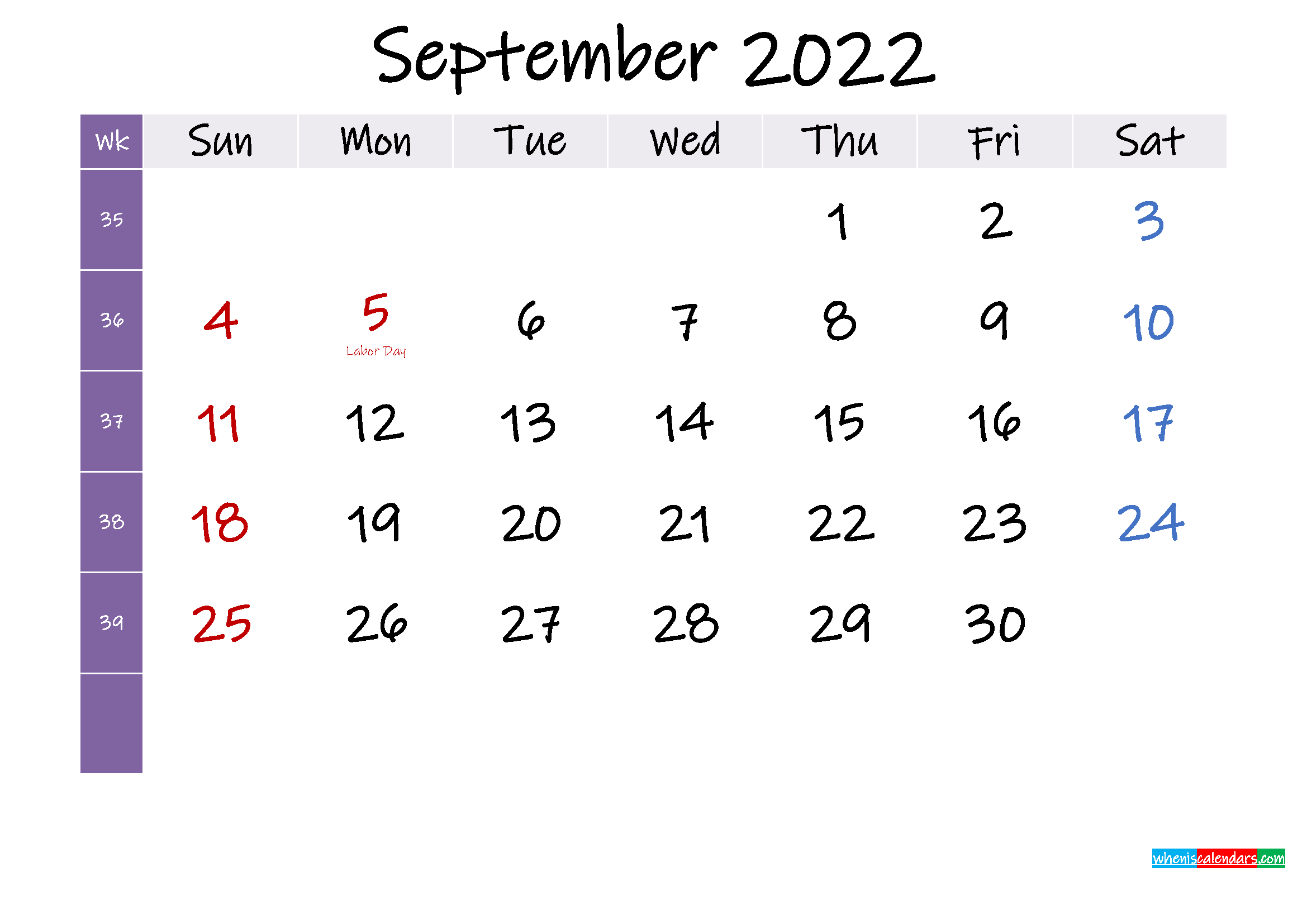 September 2022 Free Printable Calendar with Holidays