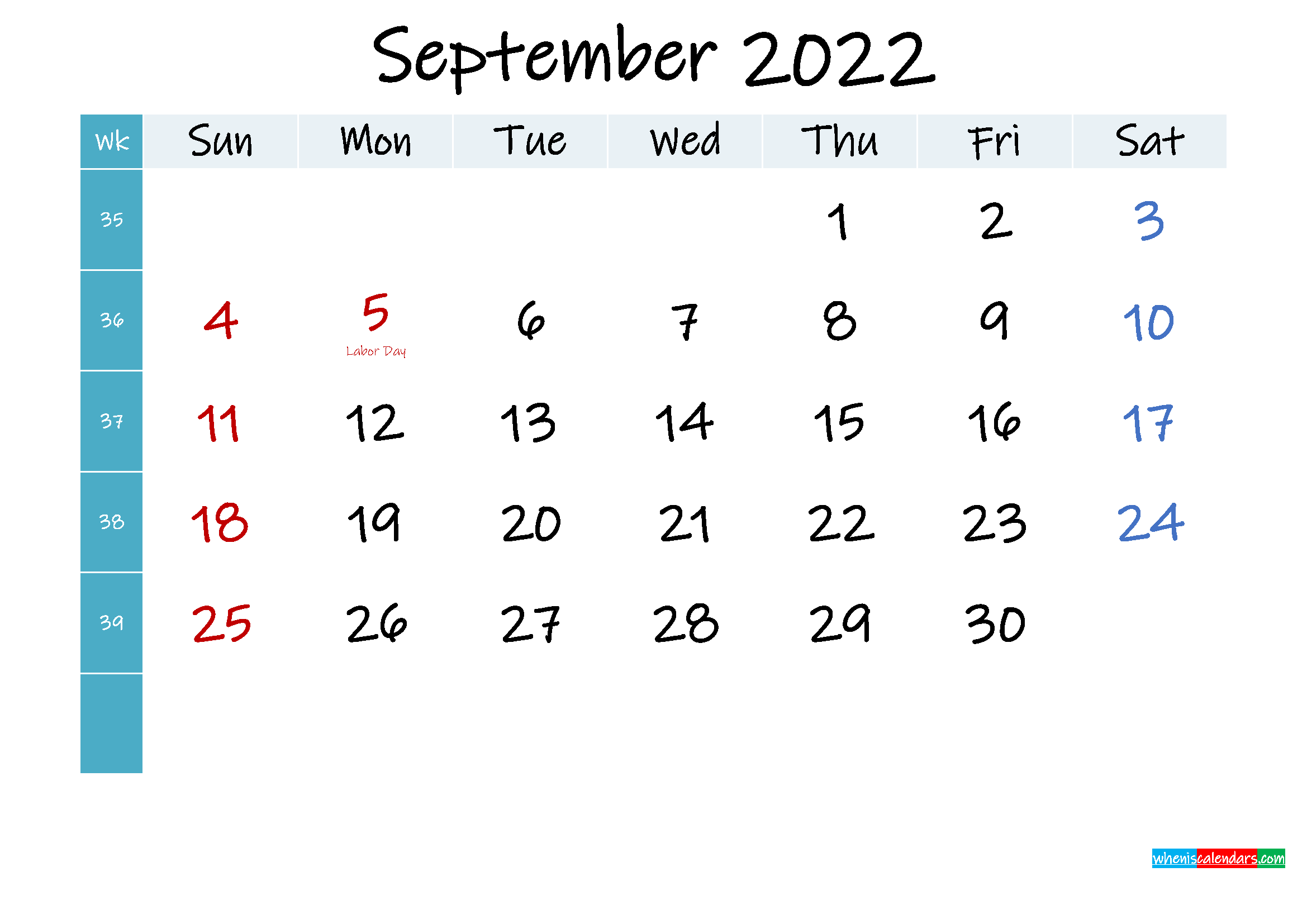 September 2022 Free Printable Calendar