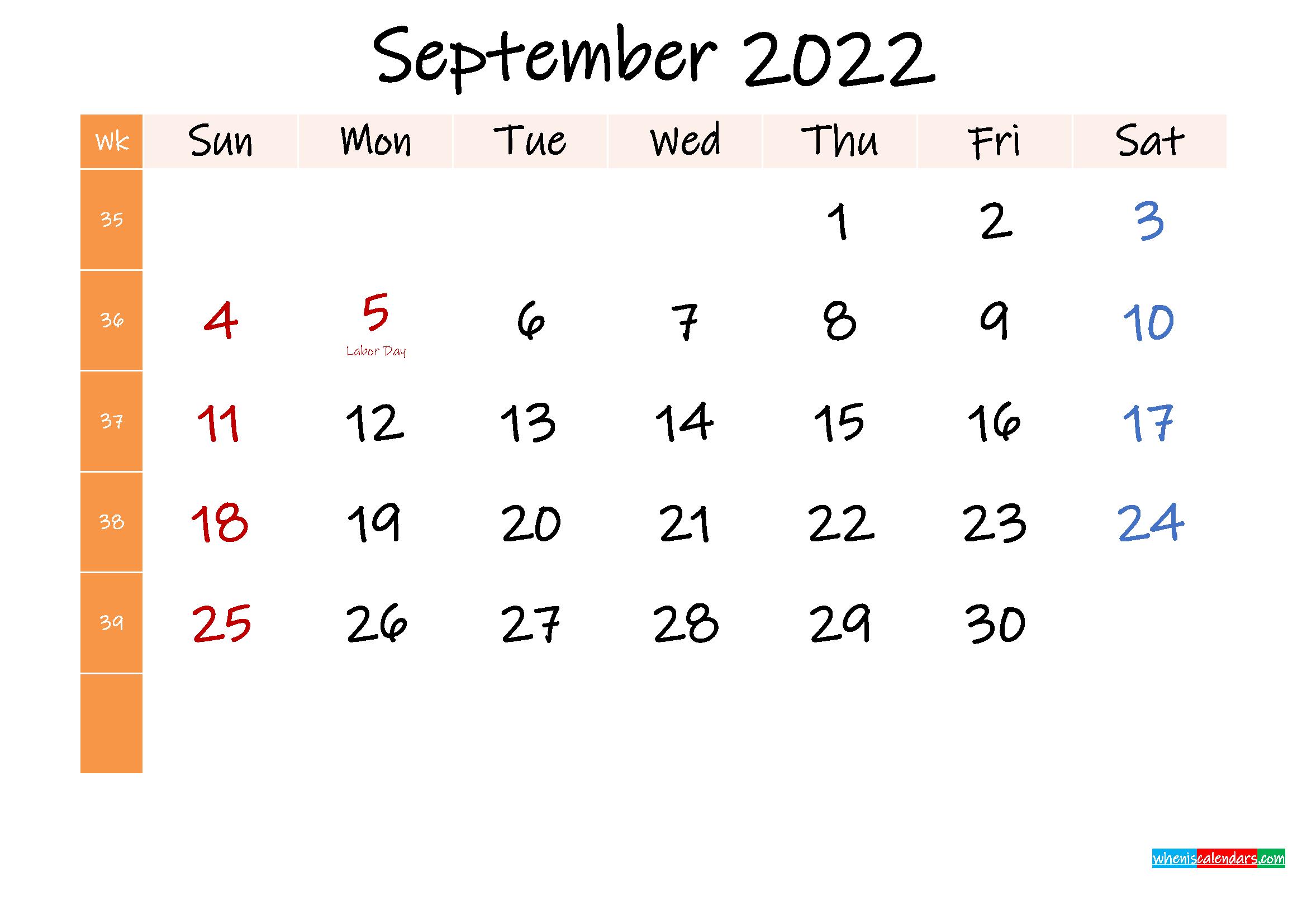 Free September 2022 Monthly Calendar Template Word