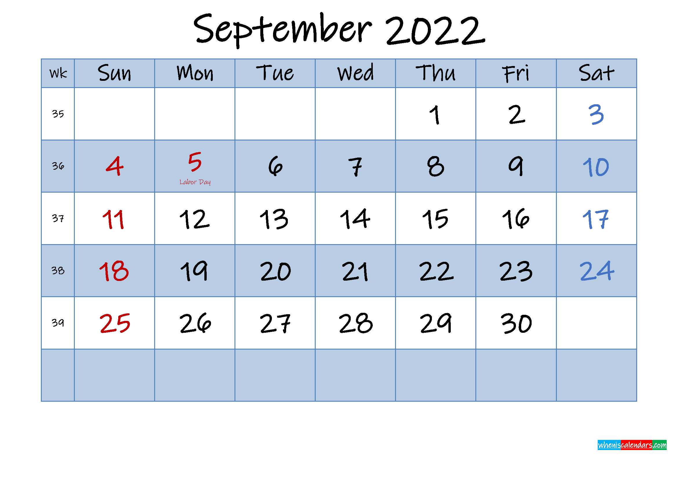 Free September 2022 Monthly Calendar PDF
