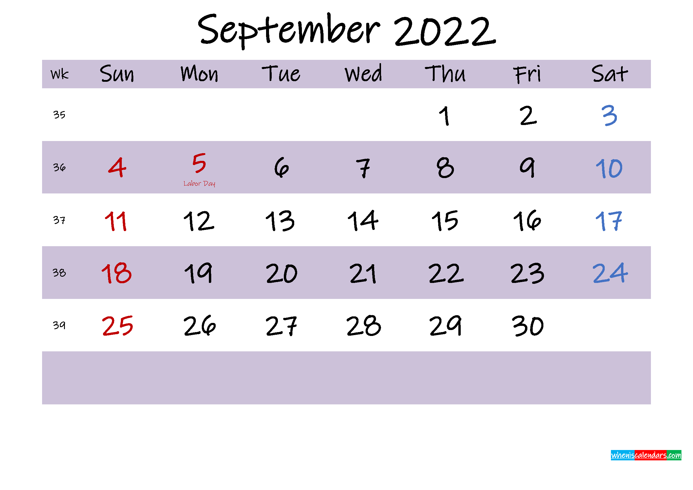 September 2022 Calendar with Holidays Printable