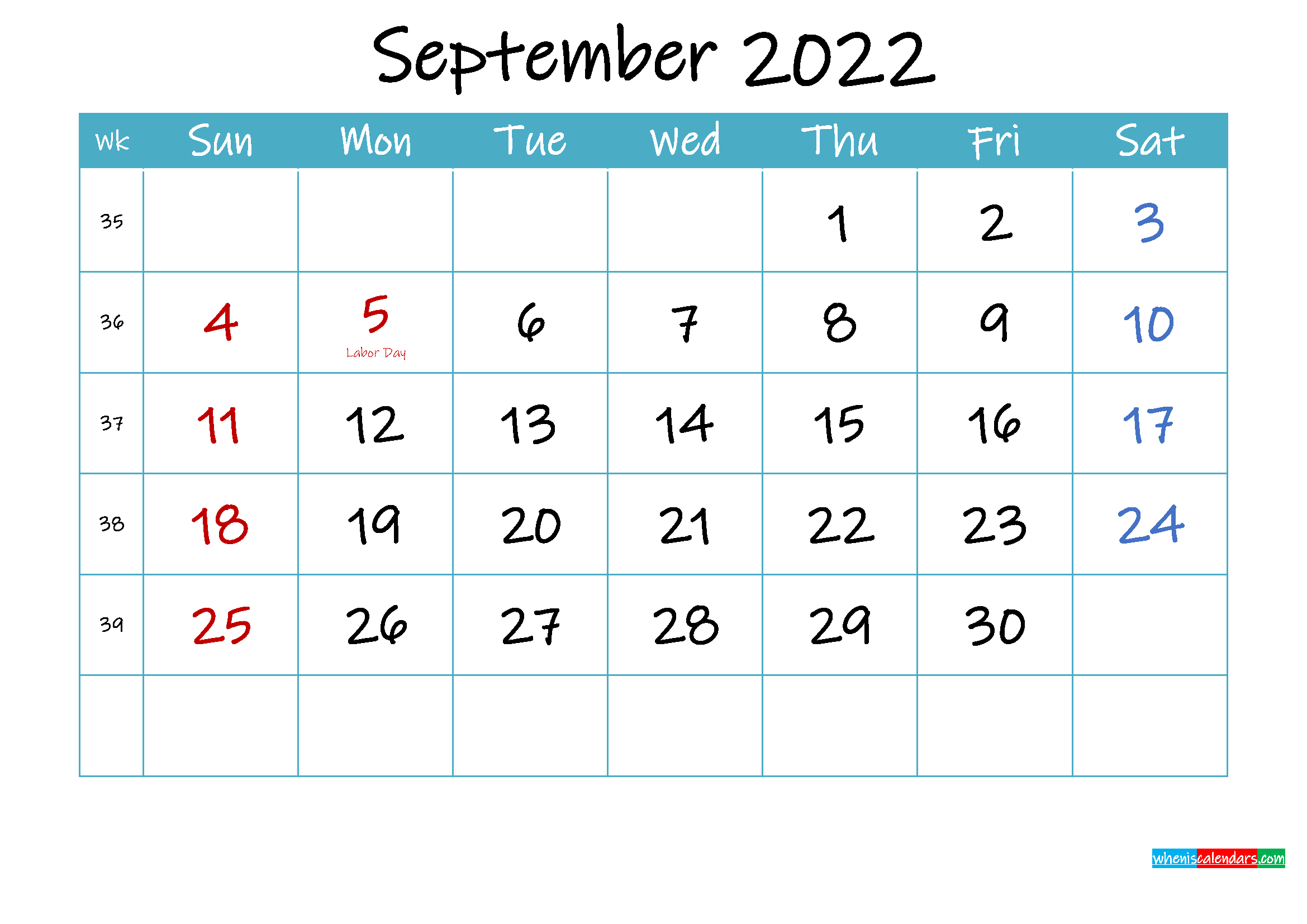 Printable September 2022 Calendar PDF