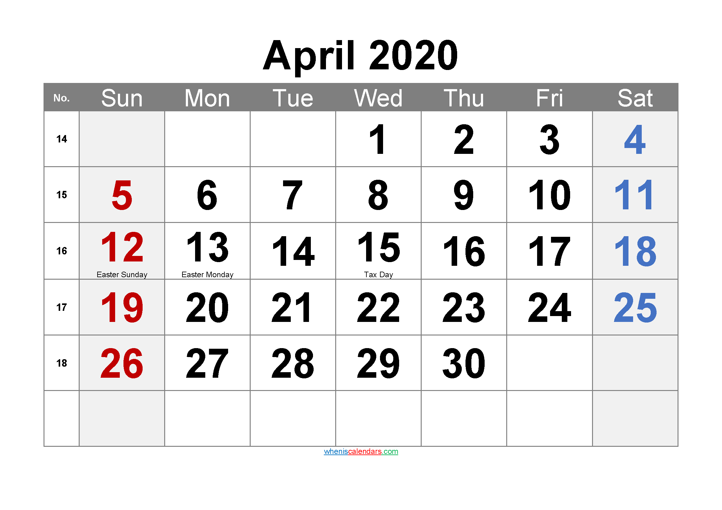 Printable April 2020 Calendar Word