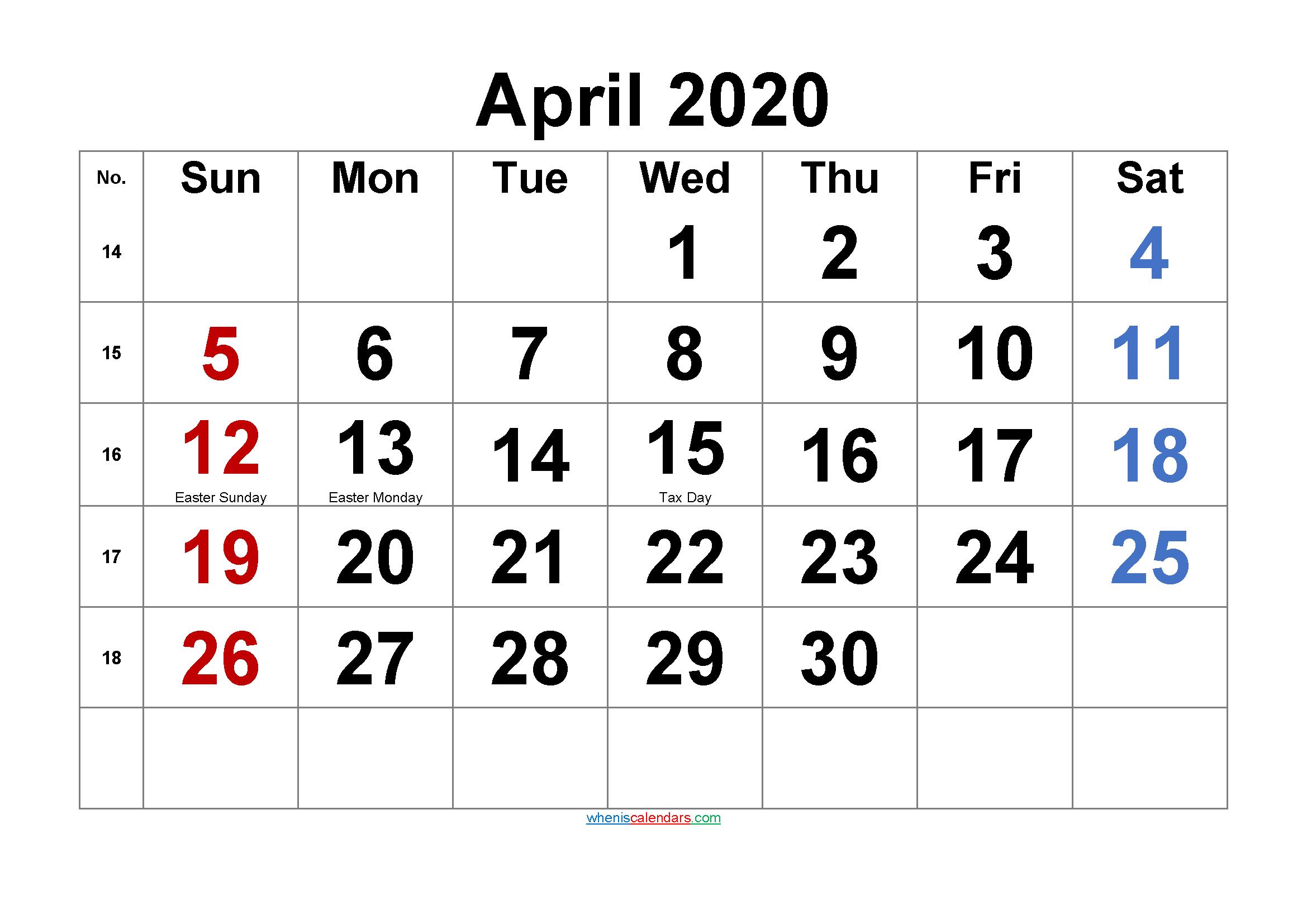 Free Printable April 2020 Calendar with Holidays