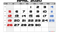Printable April 2020 Calendar with Holidays