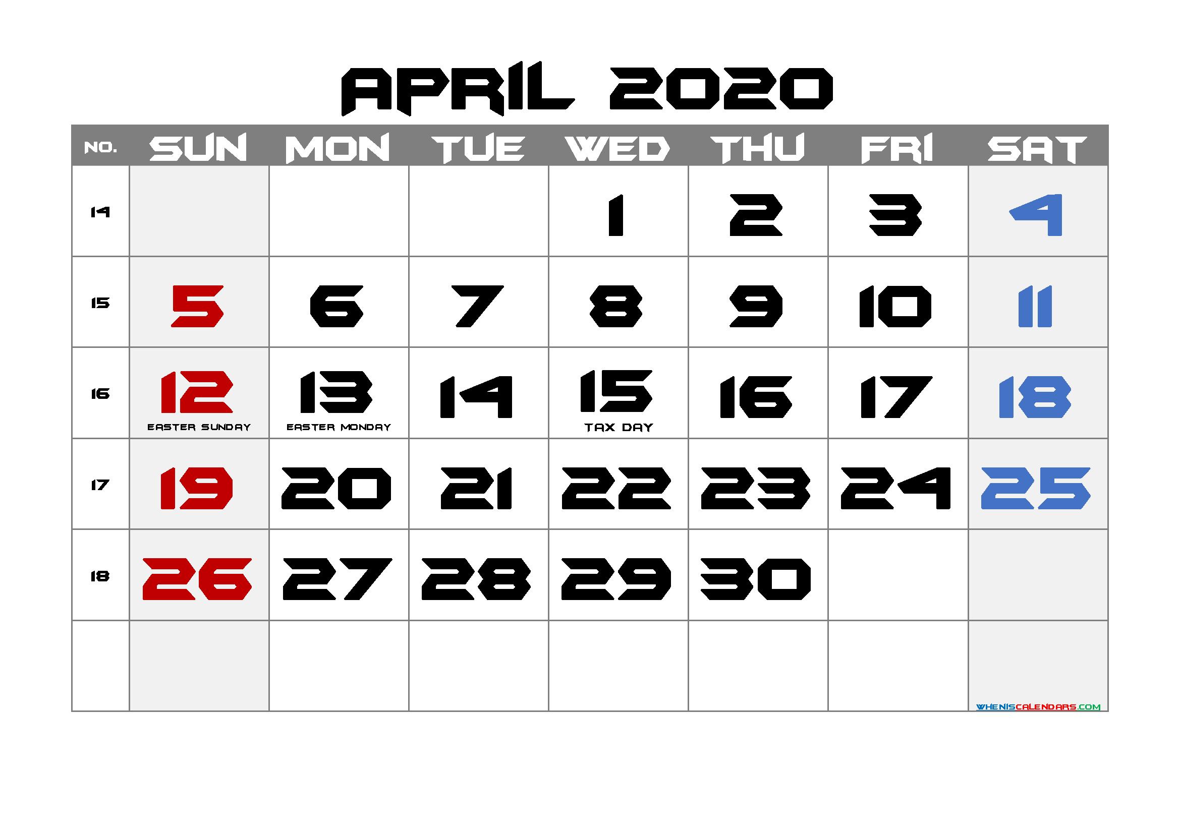 Printable APRIL 2020 Calendar with Holidays