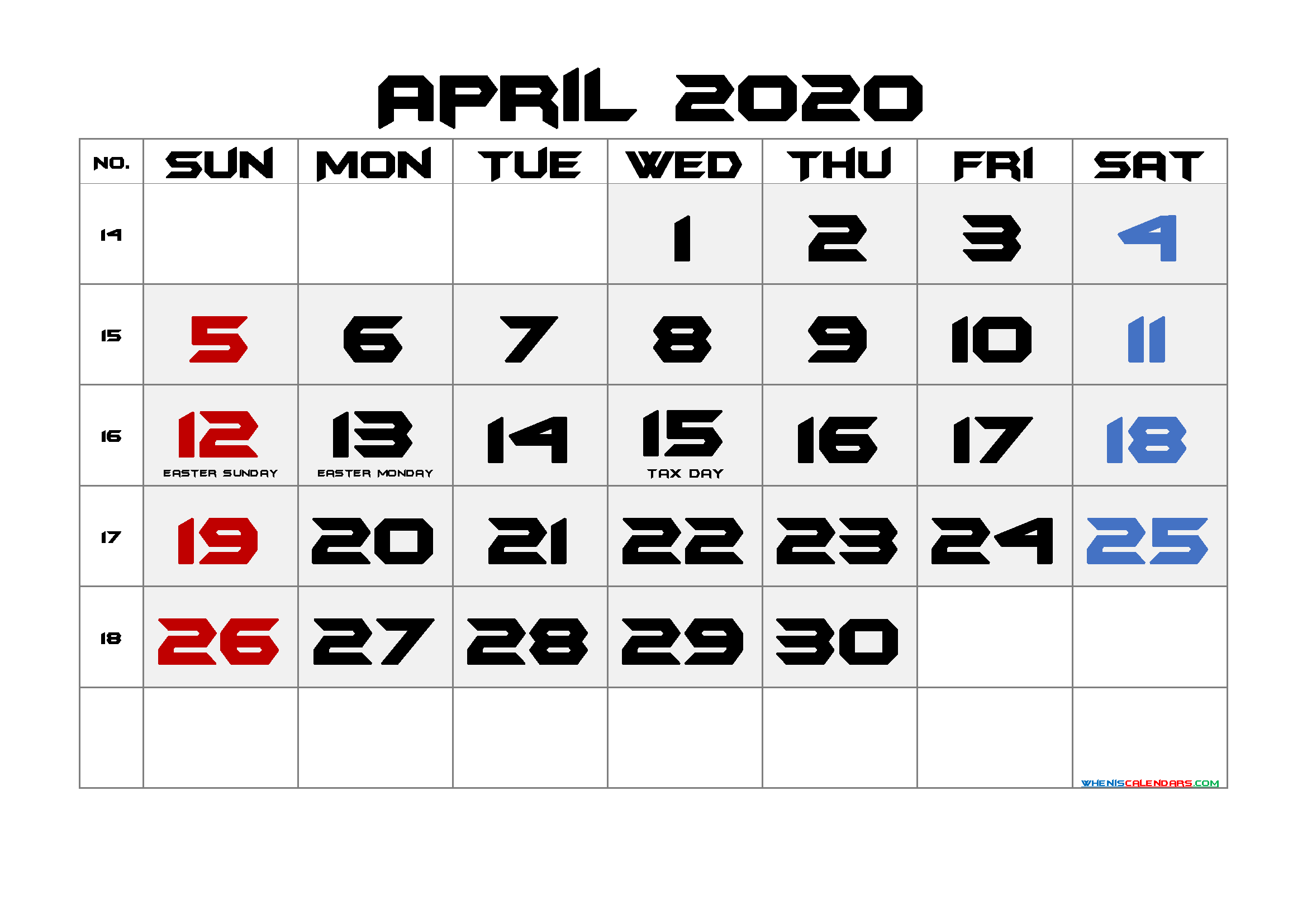 Free April 2020 Printable Calendar with Holidays