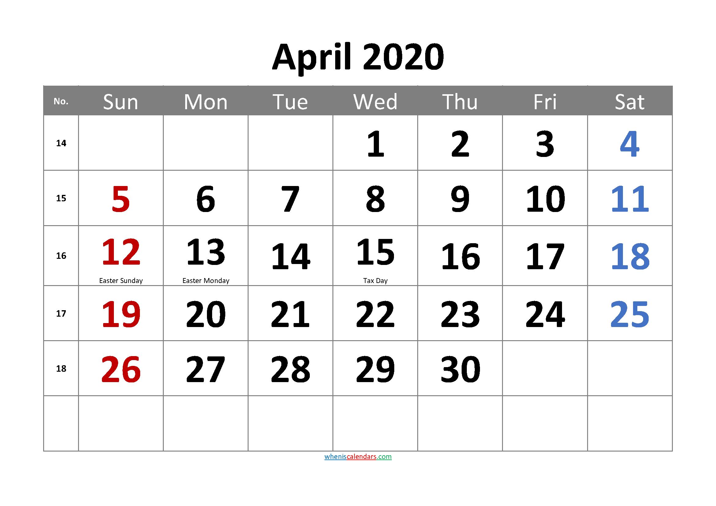 Free April 2020 Calendar Printable