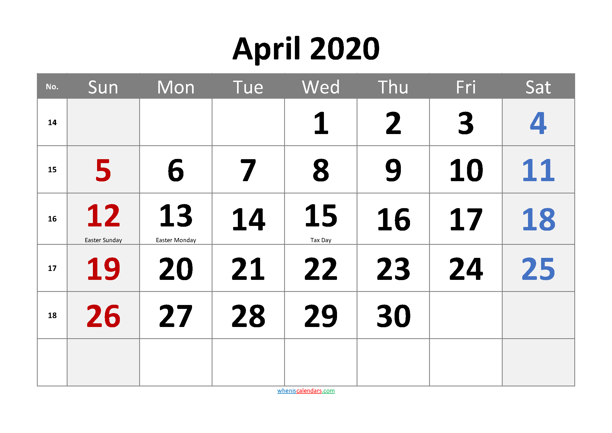 April 2020 Printable Calendar with Holidays