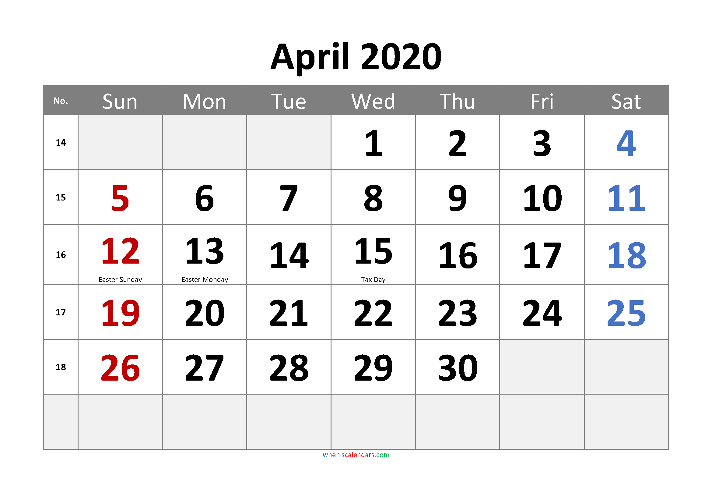 Free Printable APRIL 2020 Calendar with Holidays