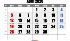 April 2020 Printable Calendar with Holidays