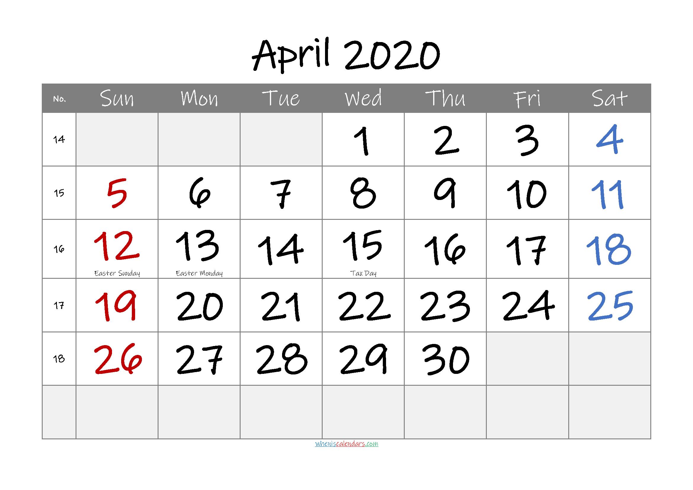 April 2020 Free Printable Calendar