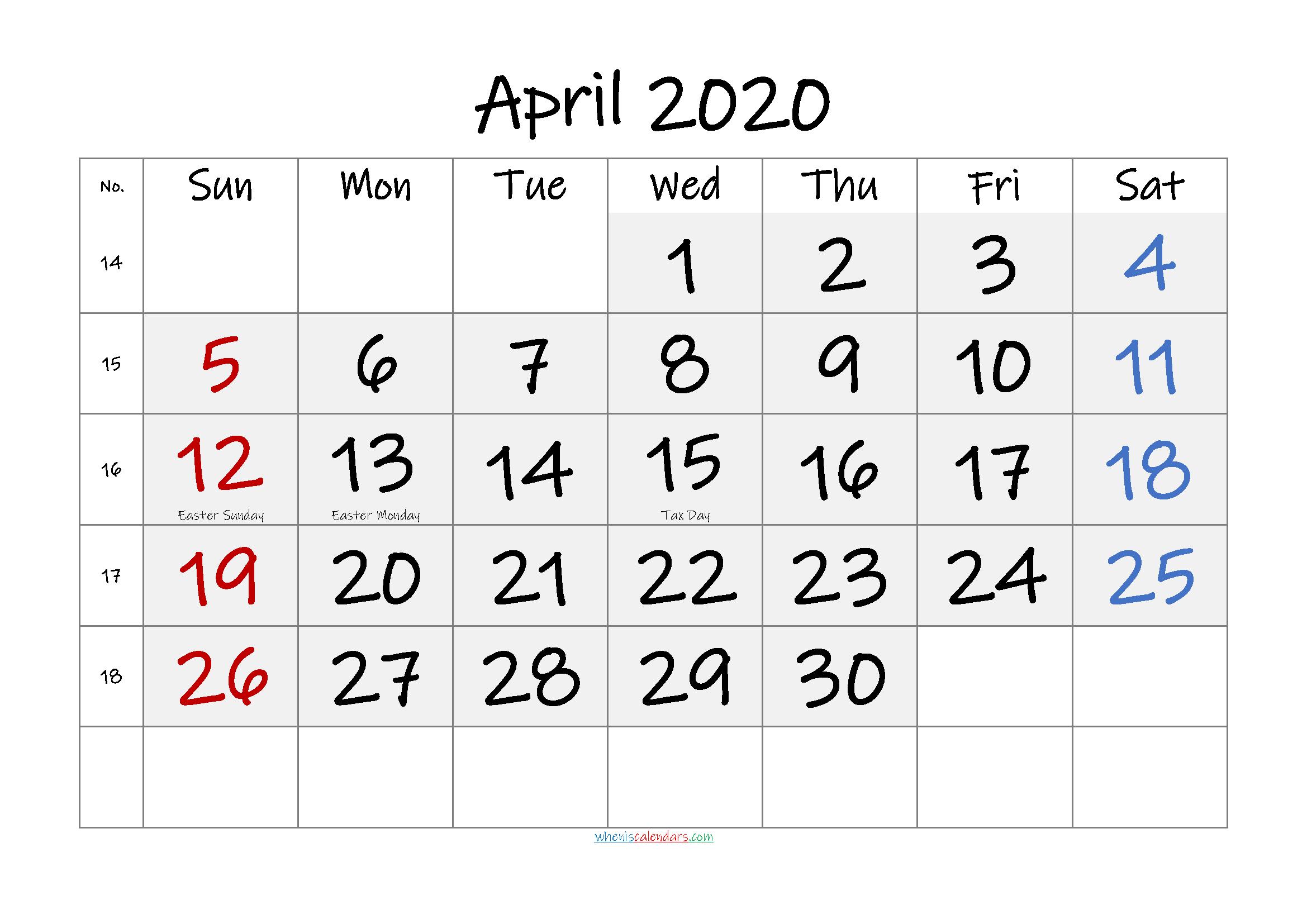 Free April 2020 Monthly Calendar PDF