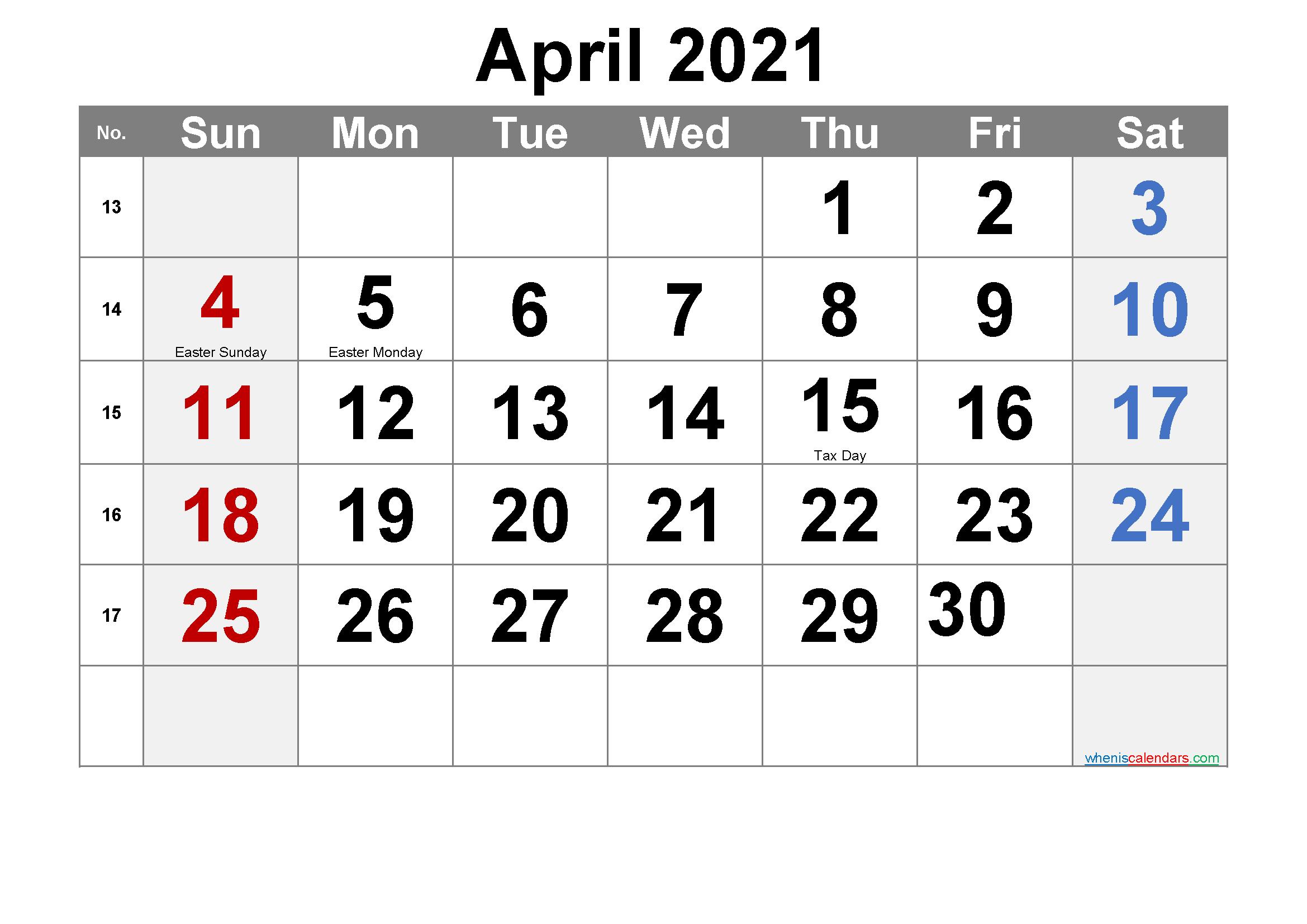 Printable April 2021 Calendar Word