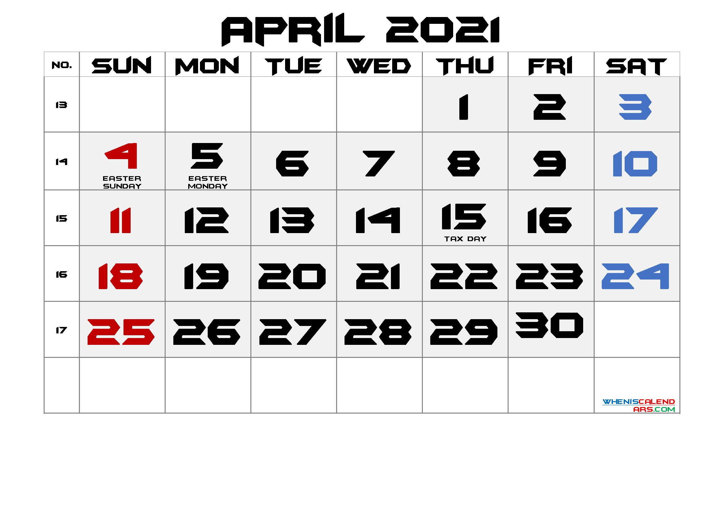 Free April 2021 Printable Calendar with Holidays