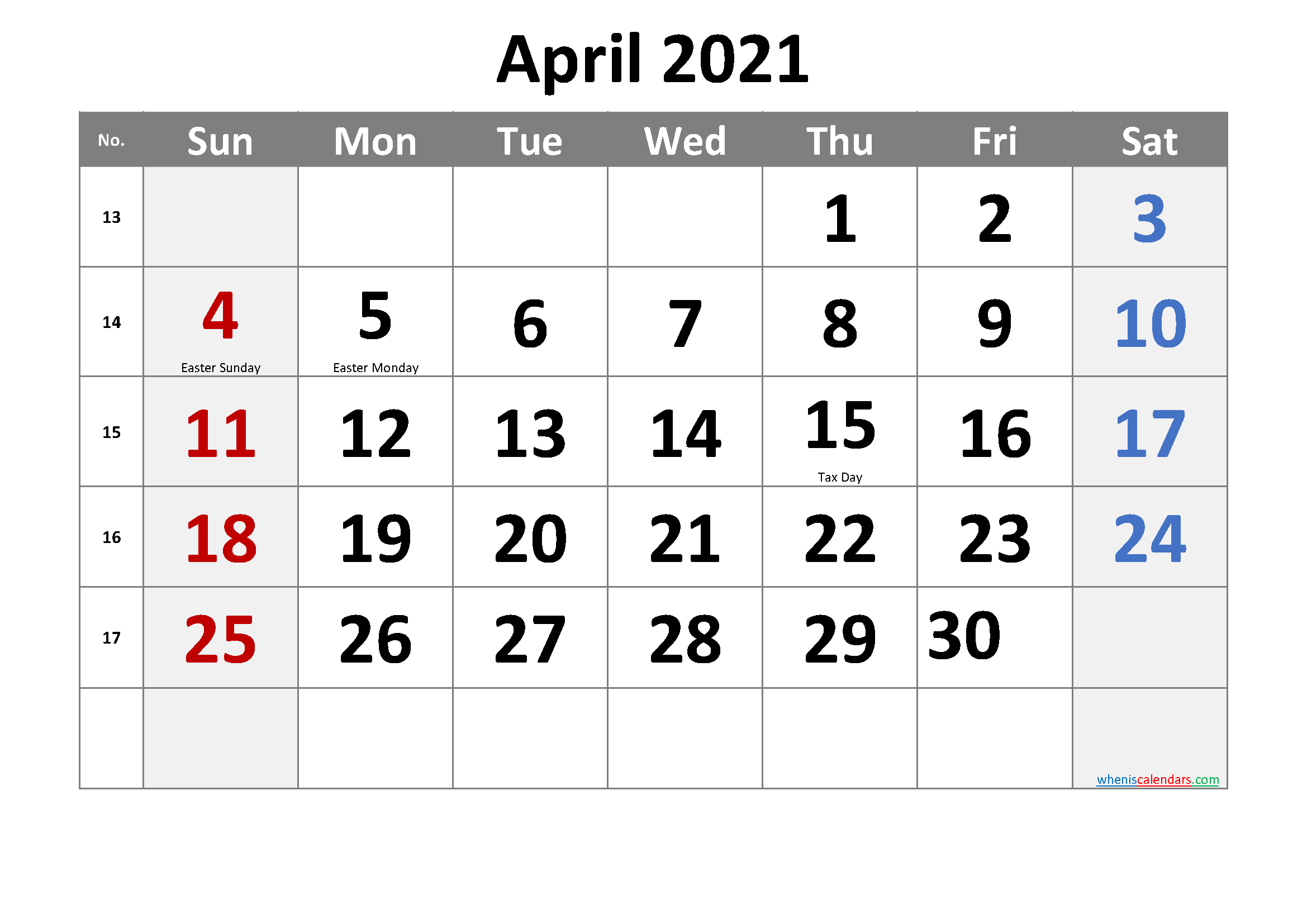 APRIL 2021 Printable Calendar with Holidays