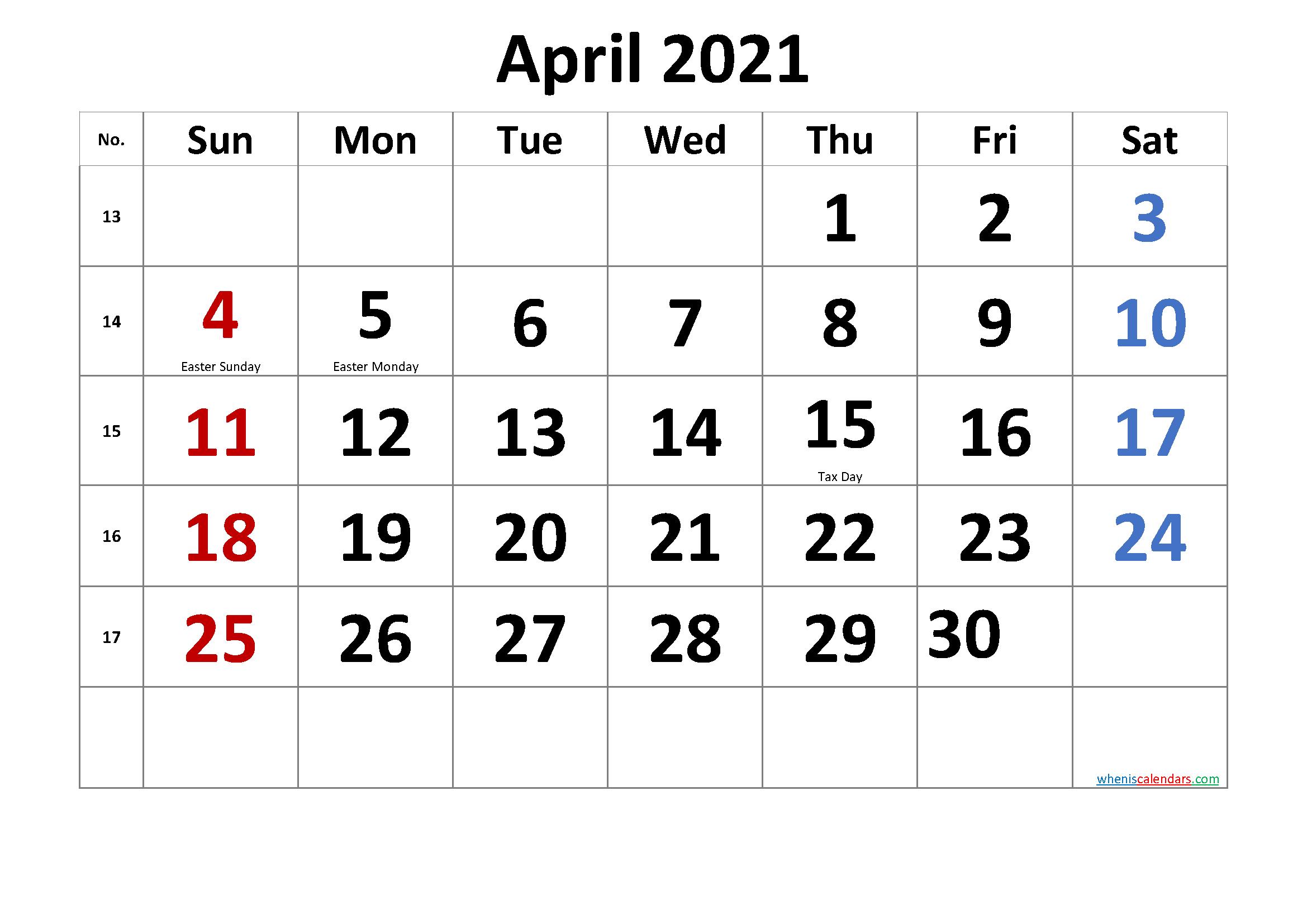 Printable APRIL 2021 Calendar with Holidays