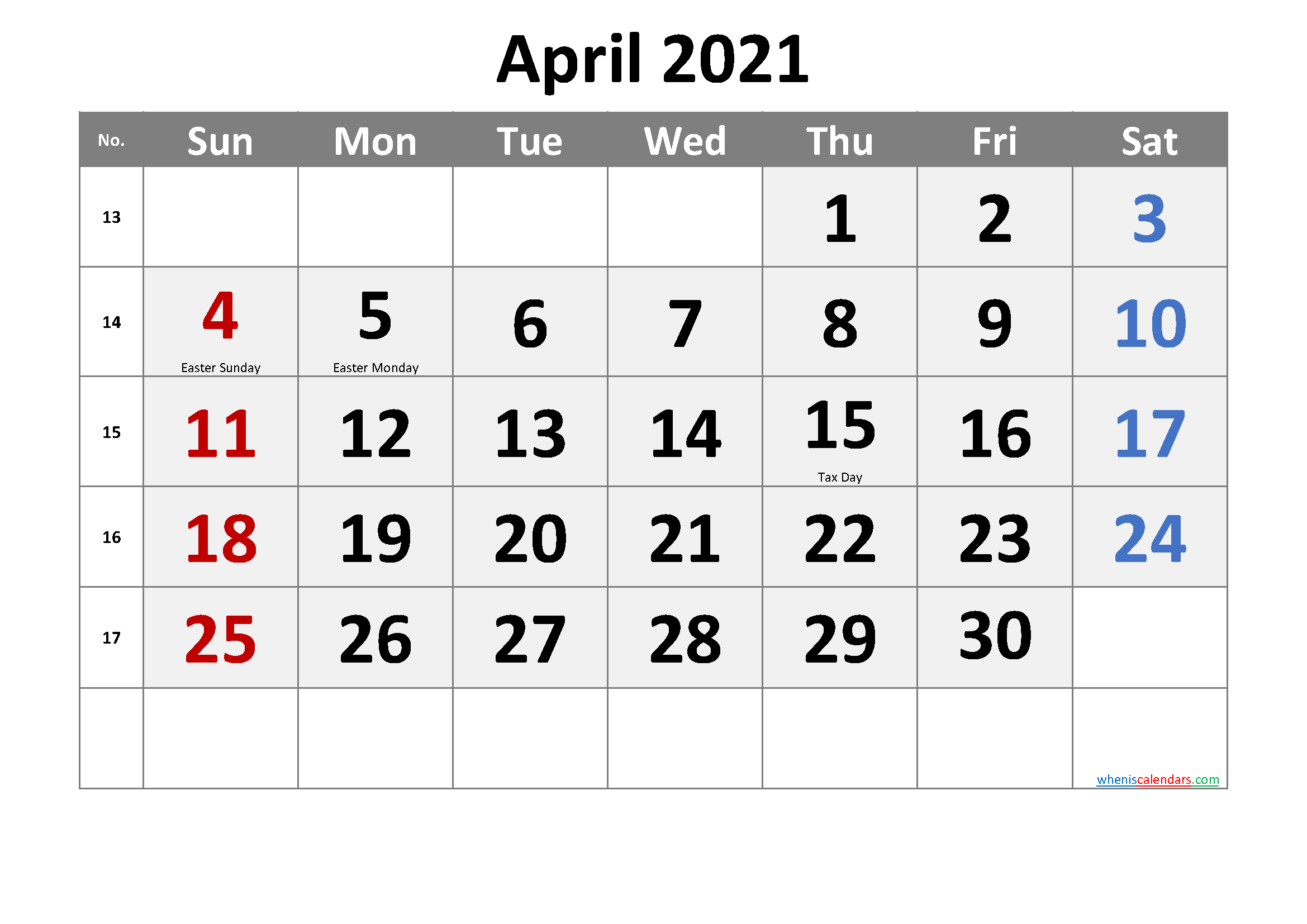 Editable April 2021 Calendar Word
