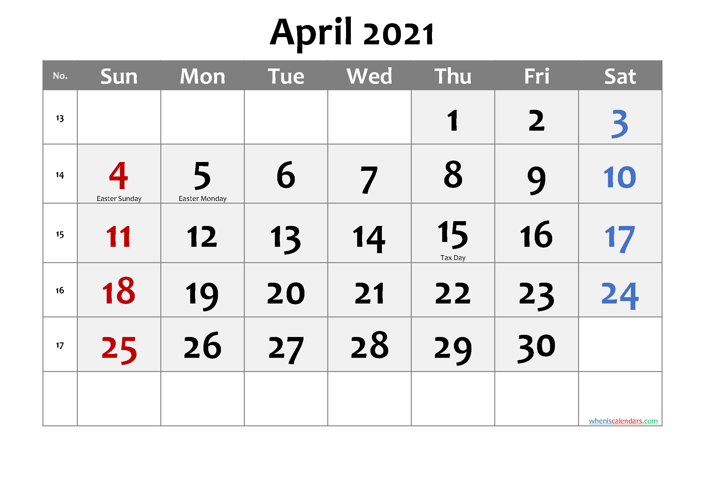 Printable APRIL 2021 Calendar with Holidays