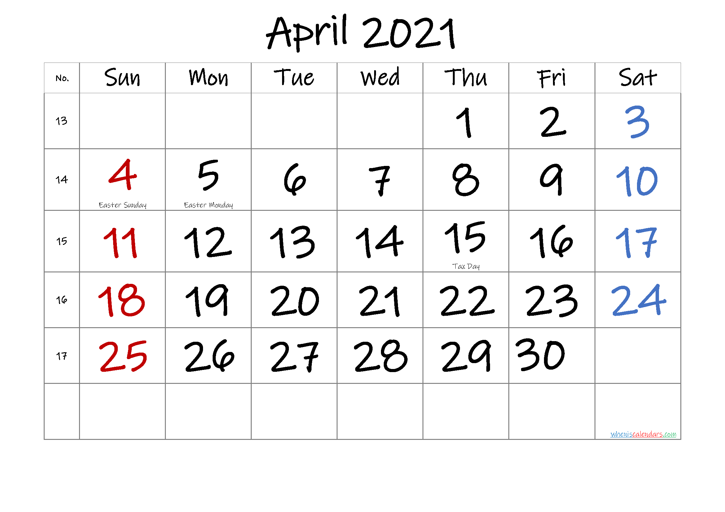 APRIL 2021 Printable Calendar with Holidays