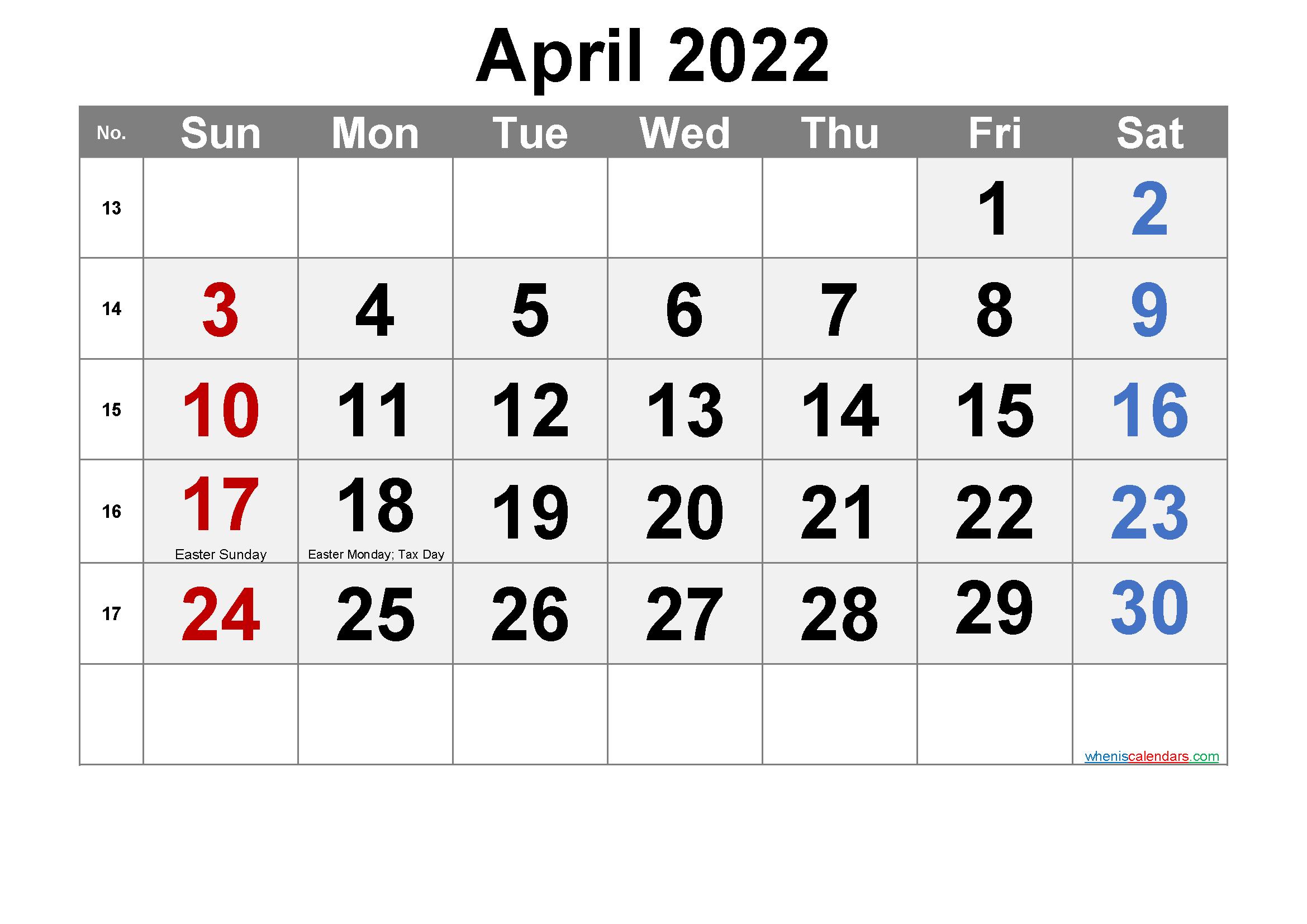 Free APRIL 2022 Calendar Printable