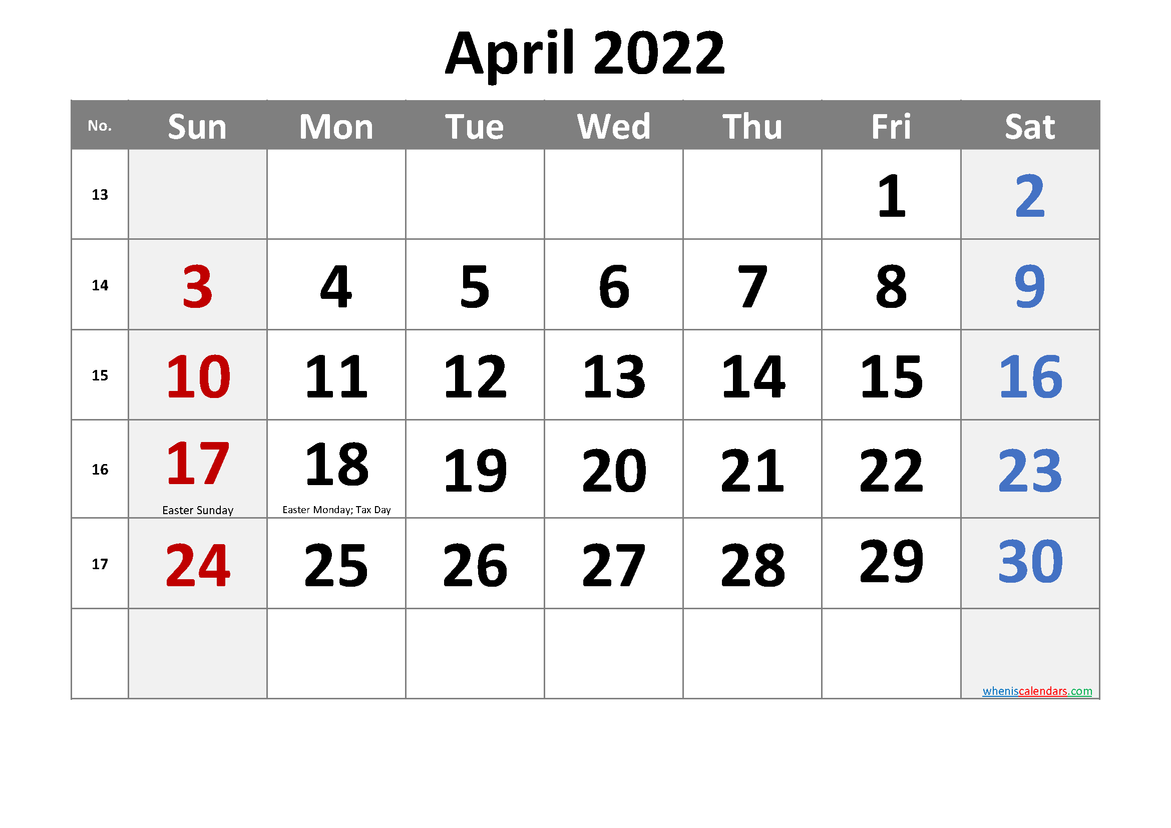 Free April 2022 Monthly Calendar Template Word