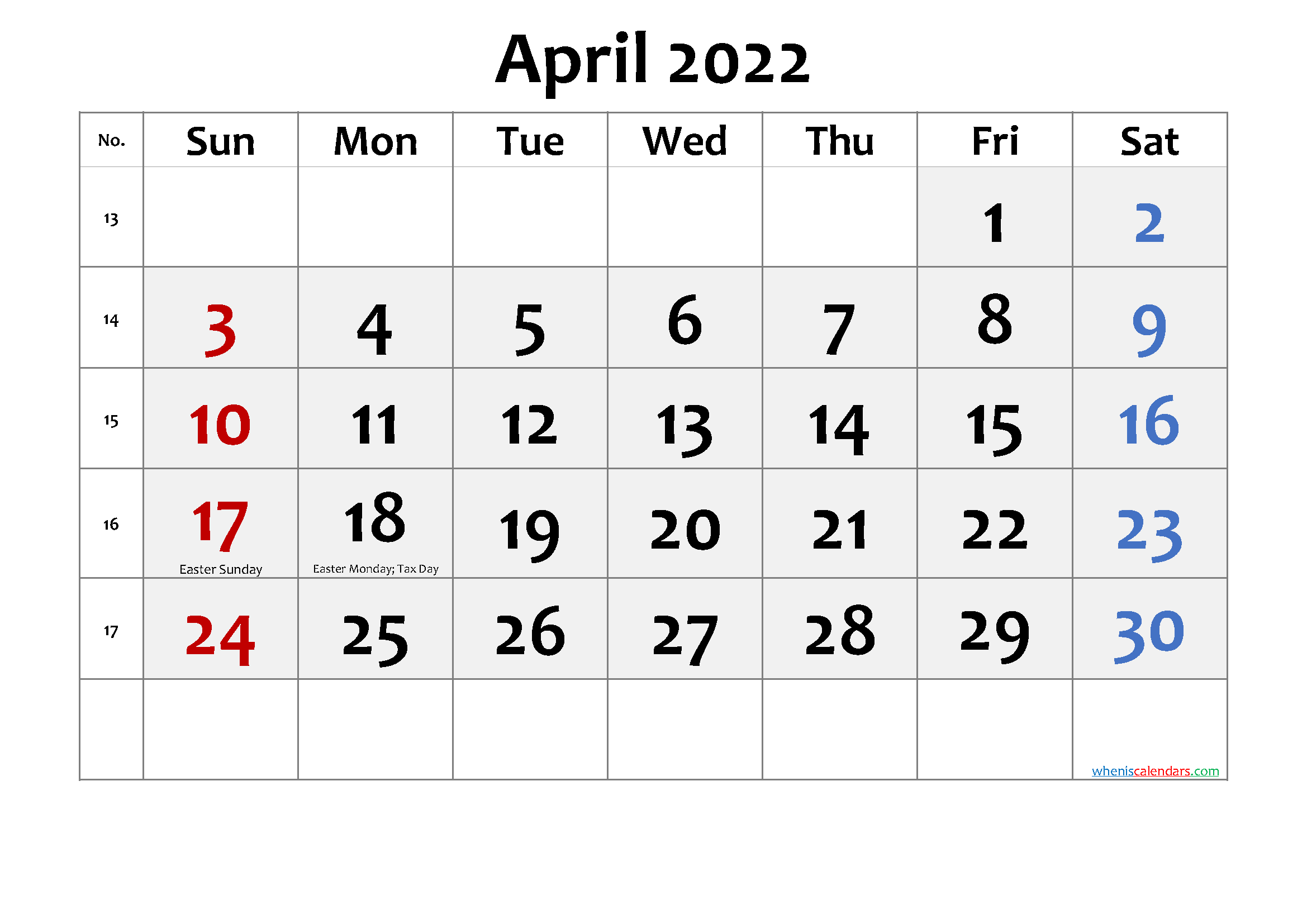Free Printable APRIL 2022 Calendar with Holidays