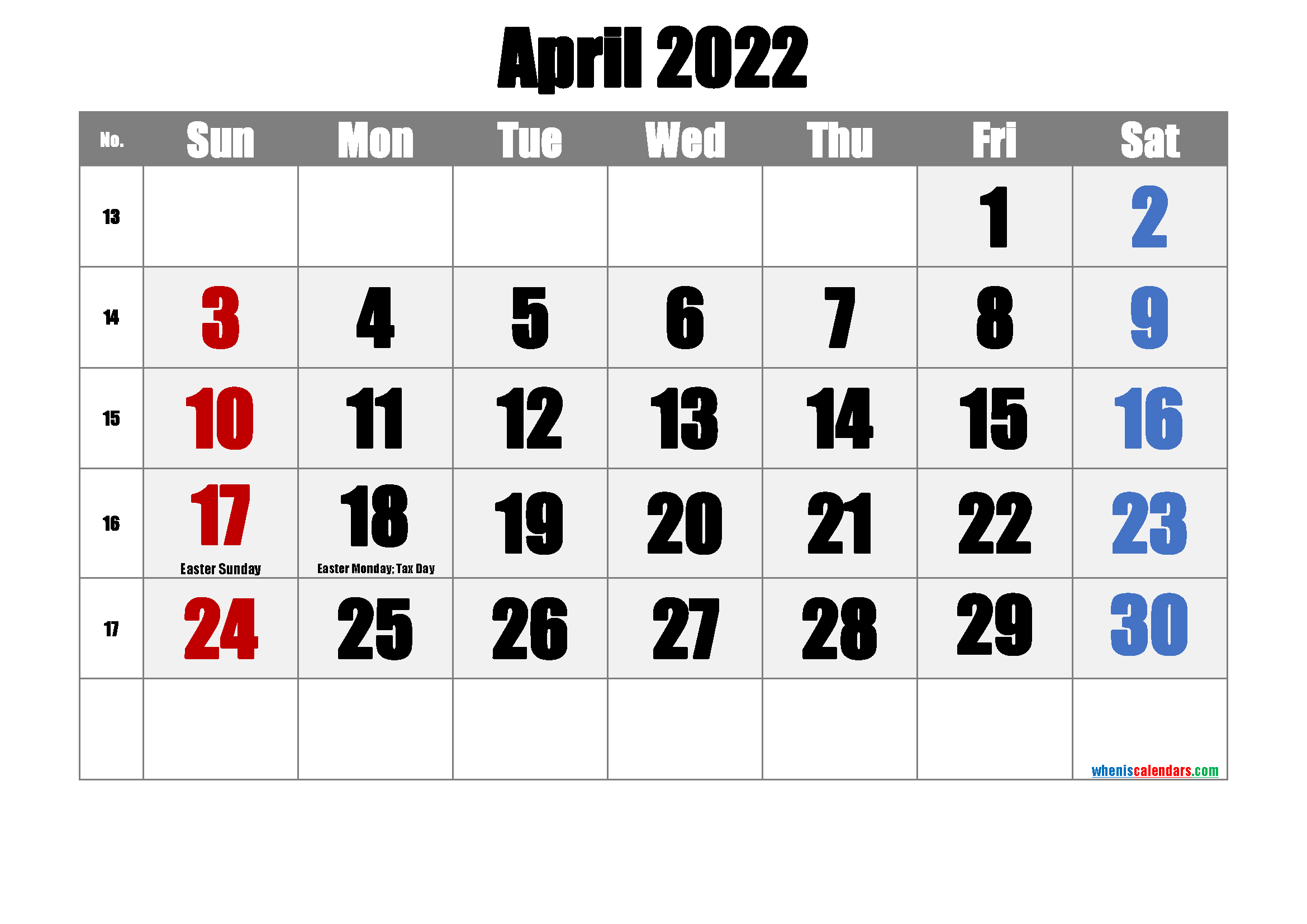 April 2022 Printable Calendar with Holidays