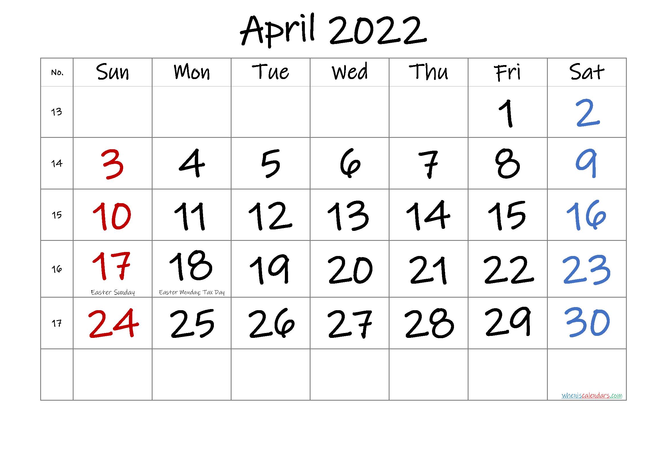APRIL 2022 Printable Calendar with Holidays