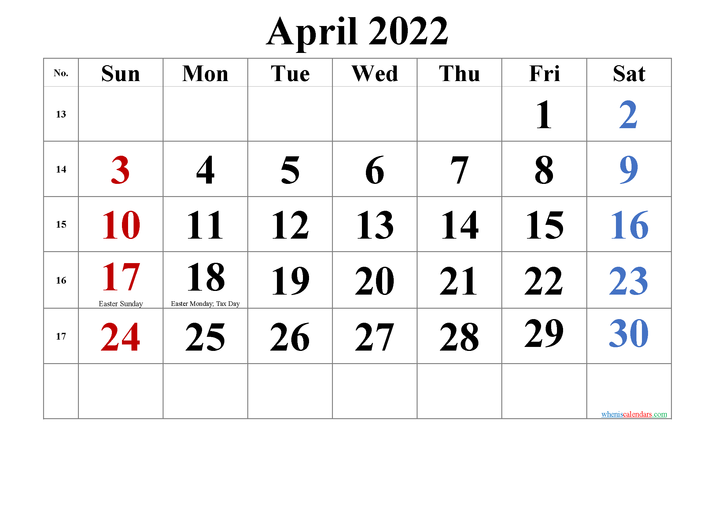 Printable APRIL 2022 Calendar with Holidays