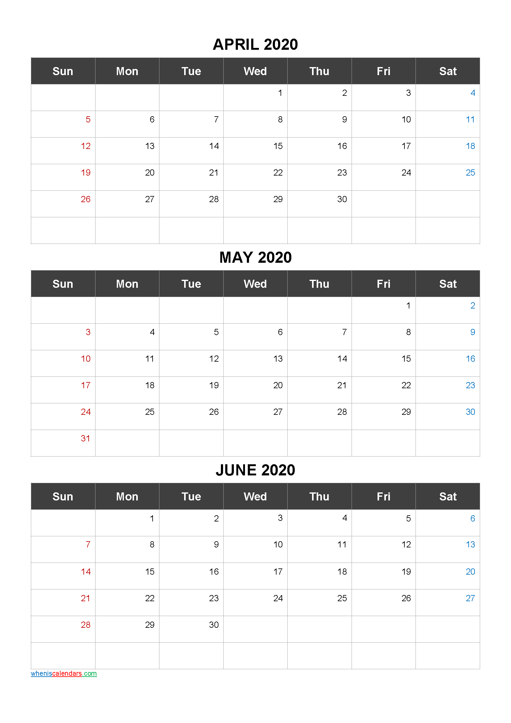 Free Printable 3 Month Calendar2020 April May June