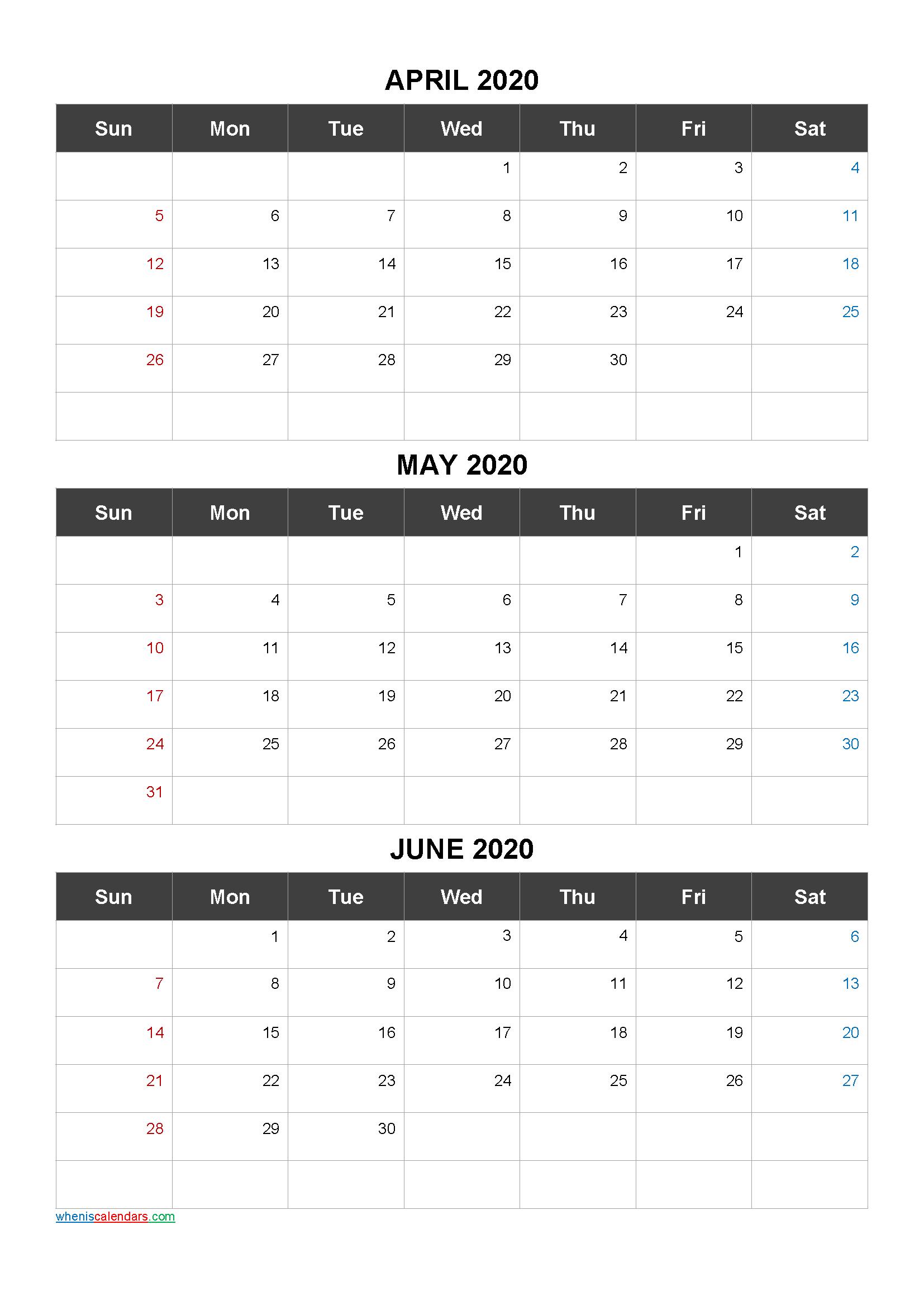 Calendar April May June 2020