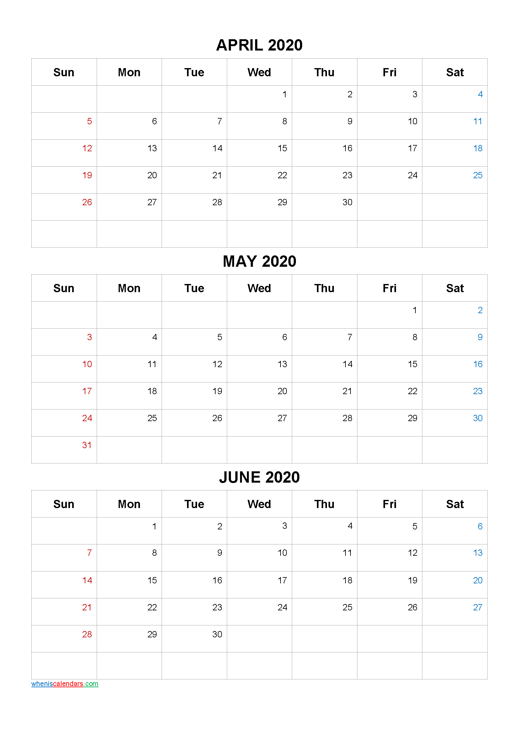 April May June 2020 Calendar Printable Free