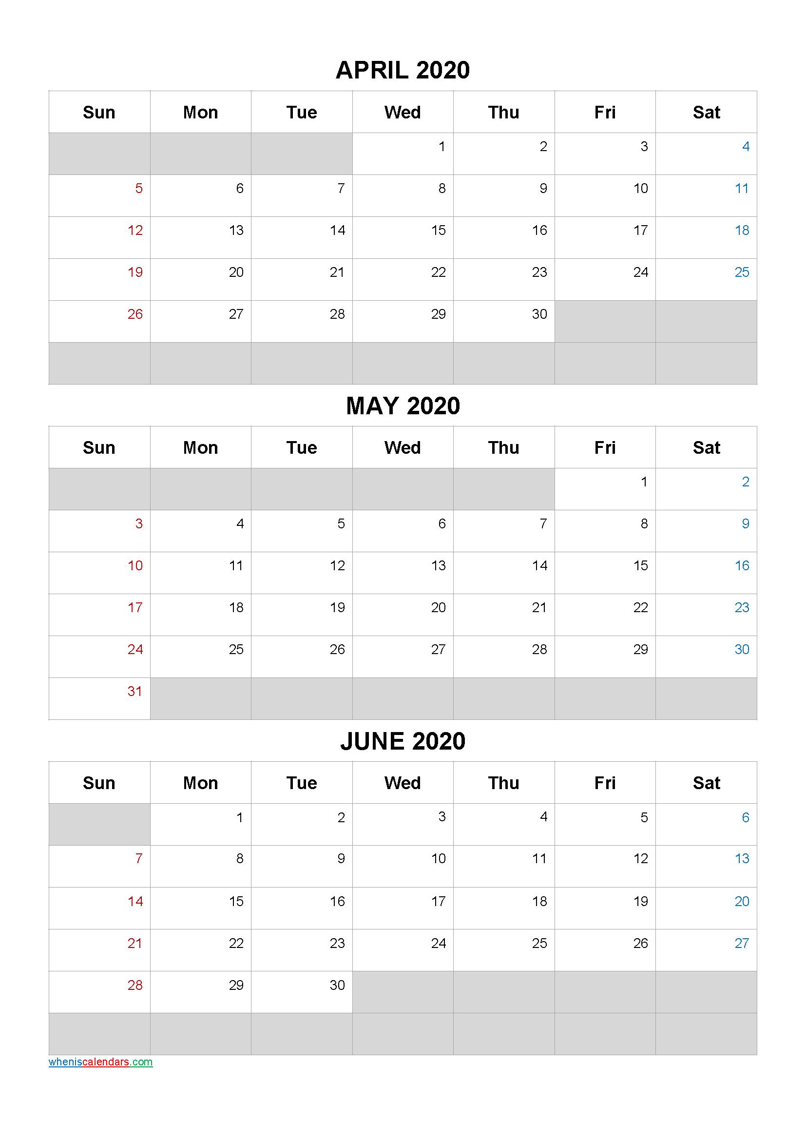 April May June 2020 Calendar Template