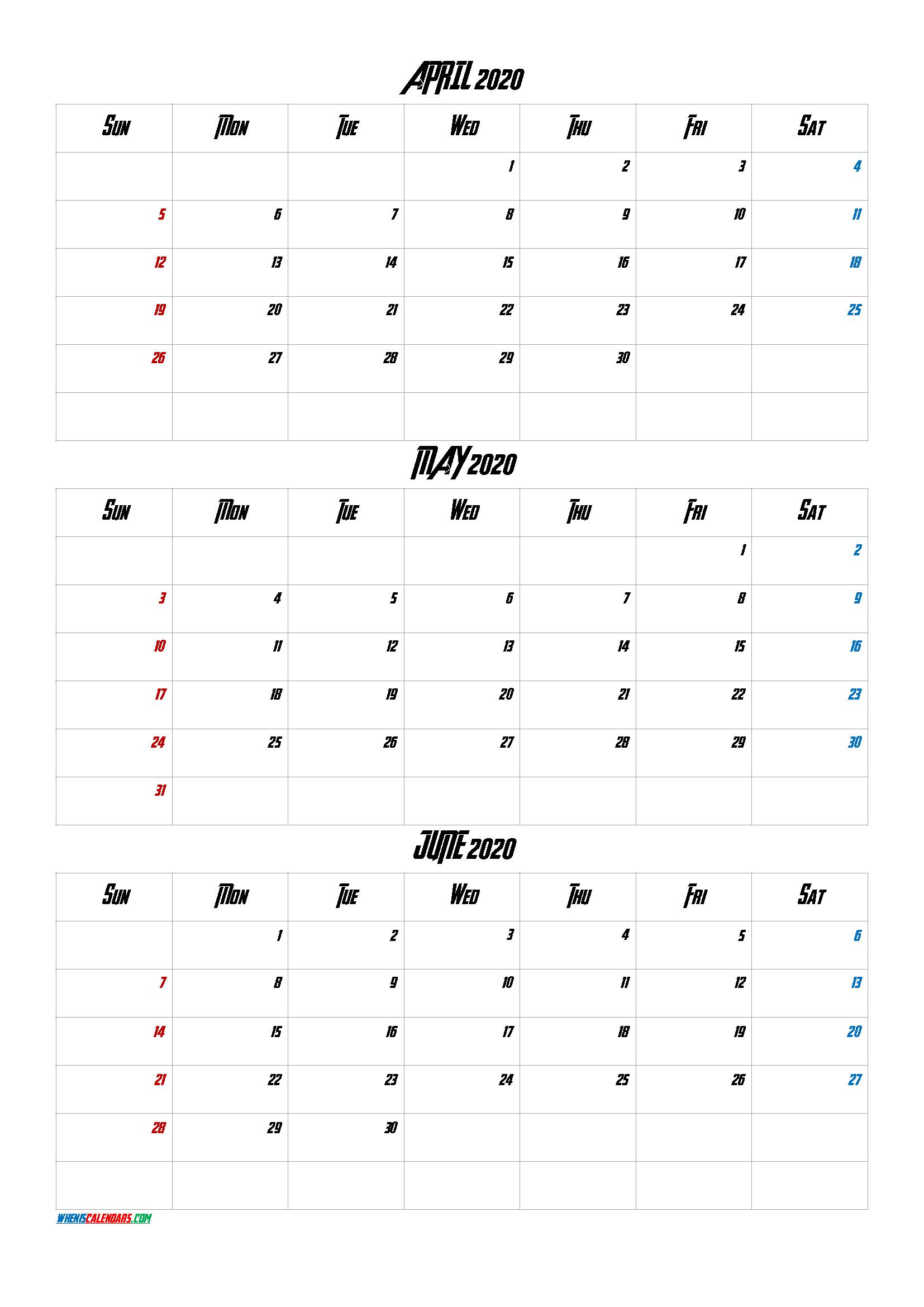 April May June 2020 Three Month Calendar Printable