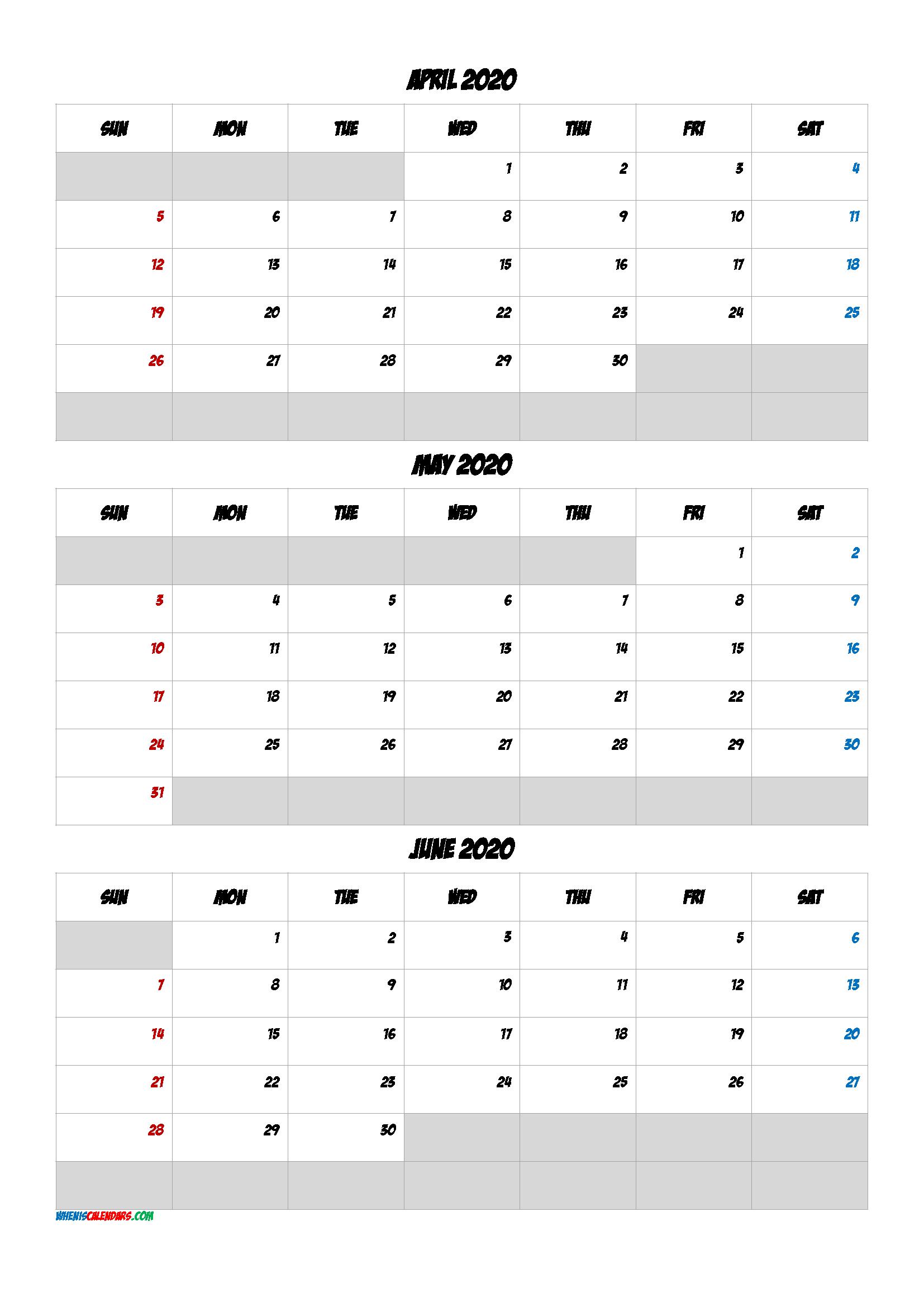 April May June 2021 Free Printable 3 Month Calendar
