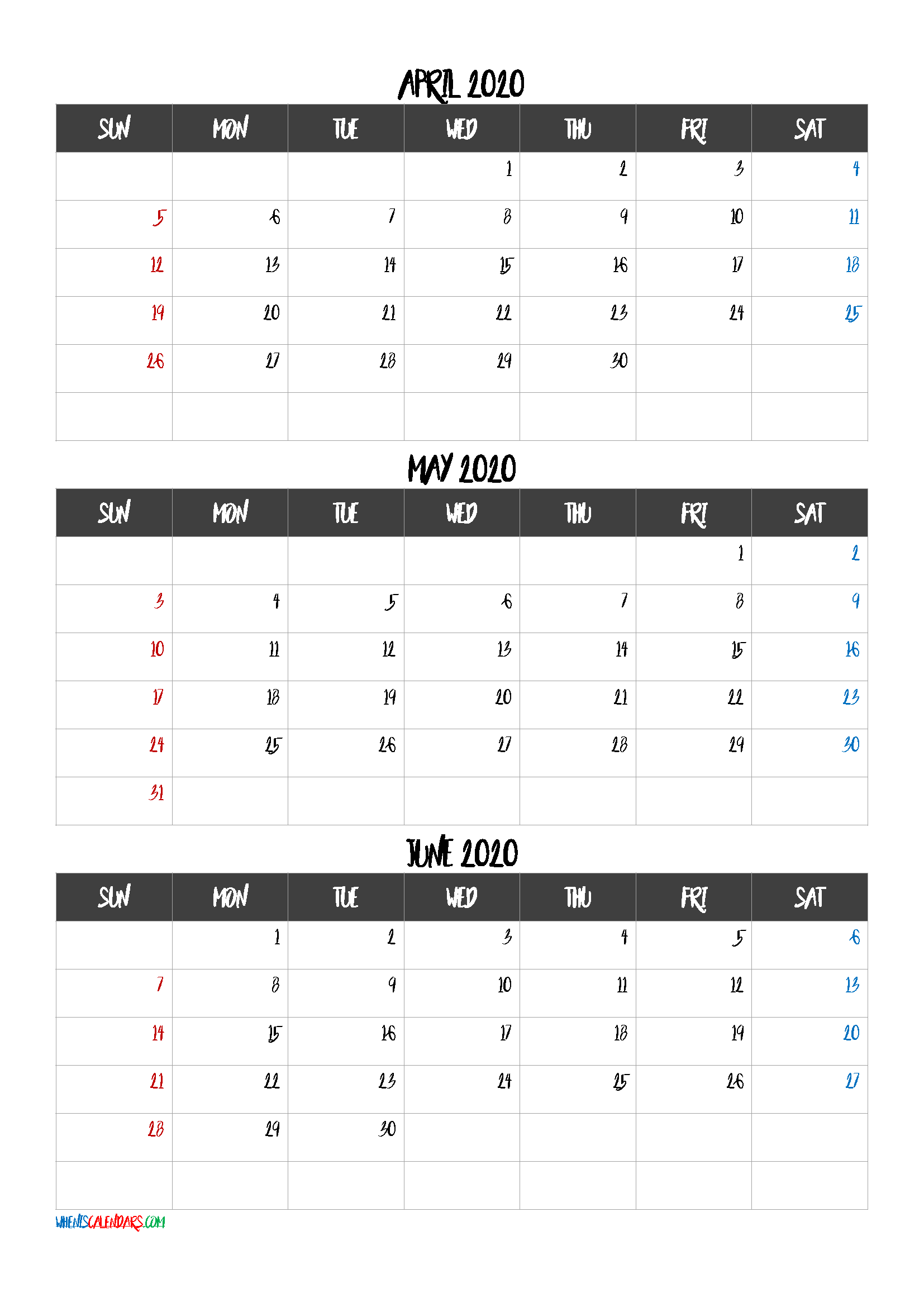 Free Printable 3 Month Calendar2021 April May June