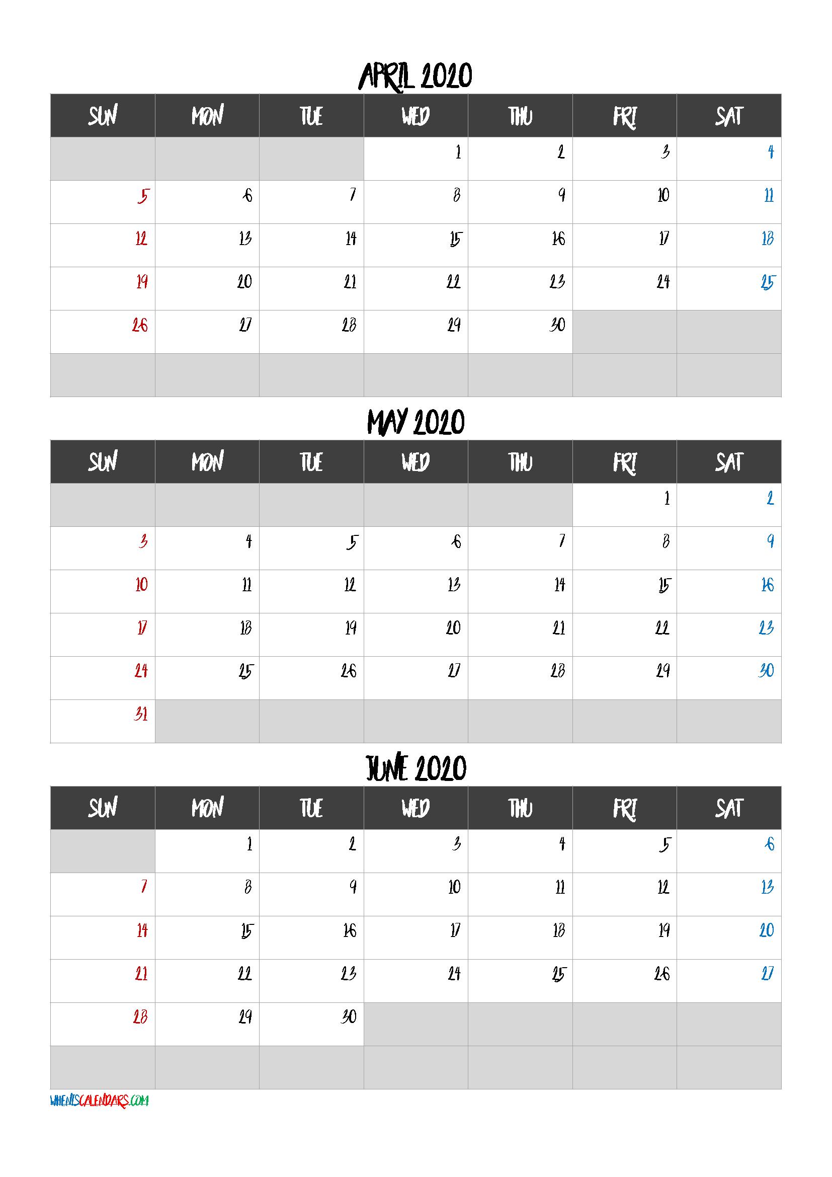 April May June 2020 Calendar Printable Free