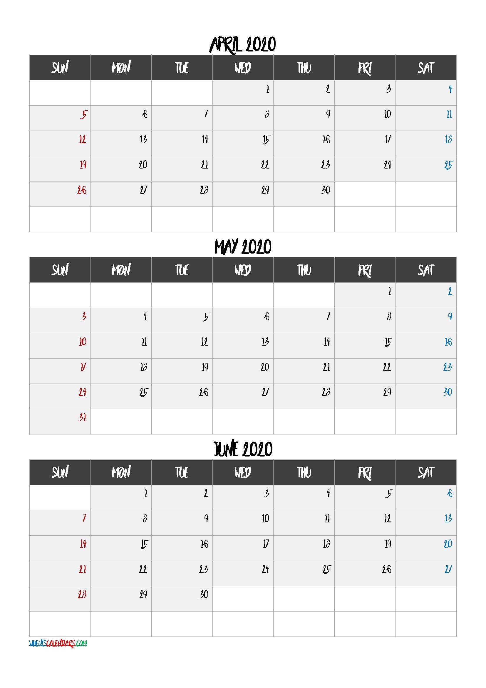 April May June 3 Month Printable Calendar 2020