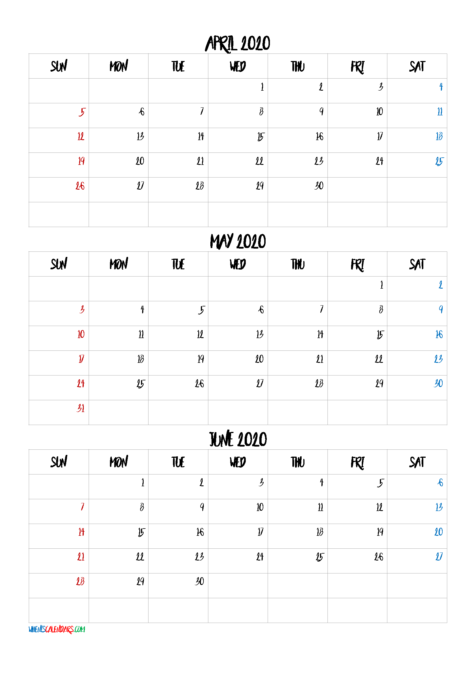 Free April May June 2020 Calendar
