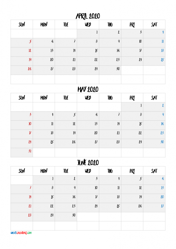 April May June 2021 Three Month Calendar-21BB6   Free ...