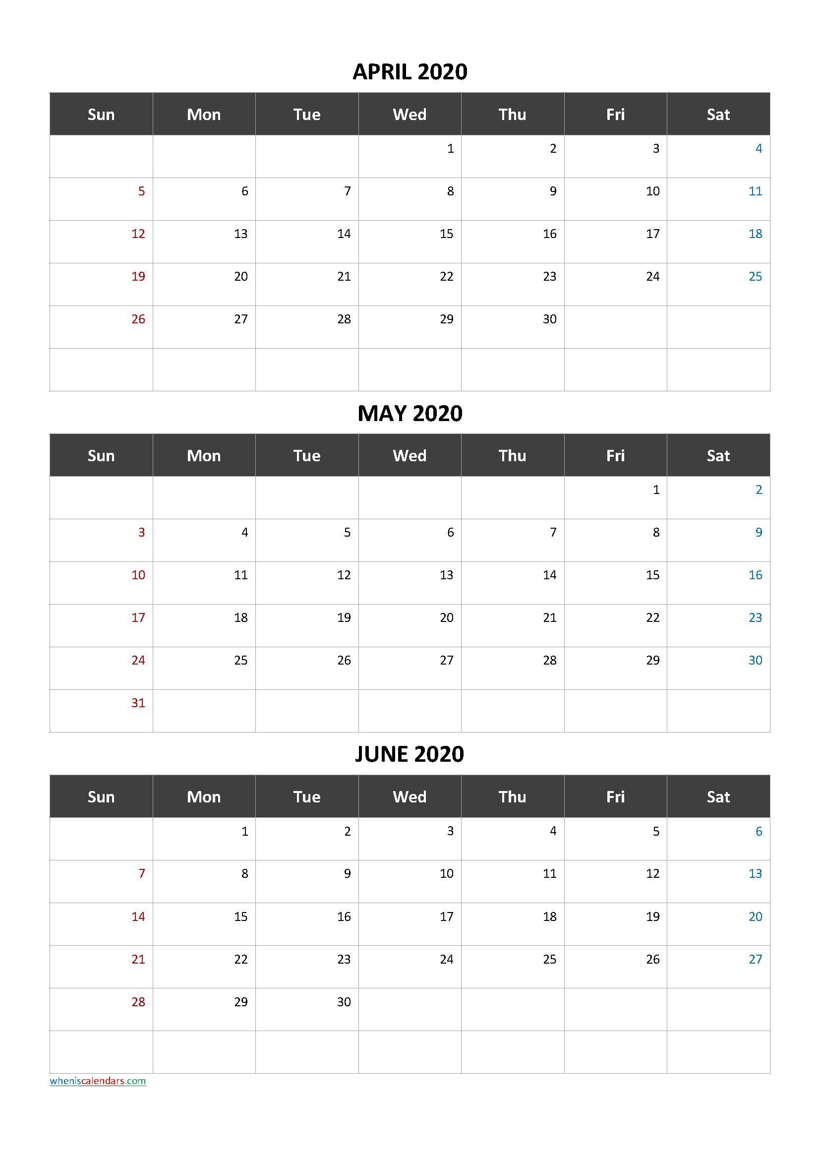 Free Printable 3 Month Calendar2020 April May June