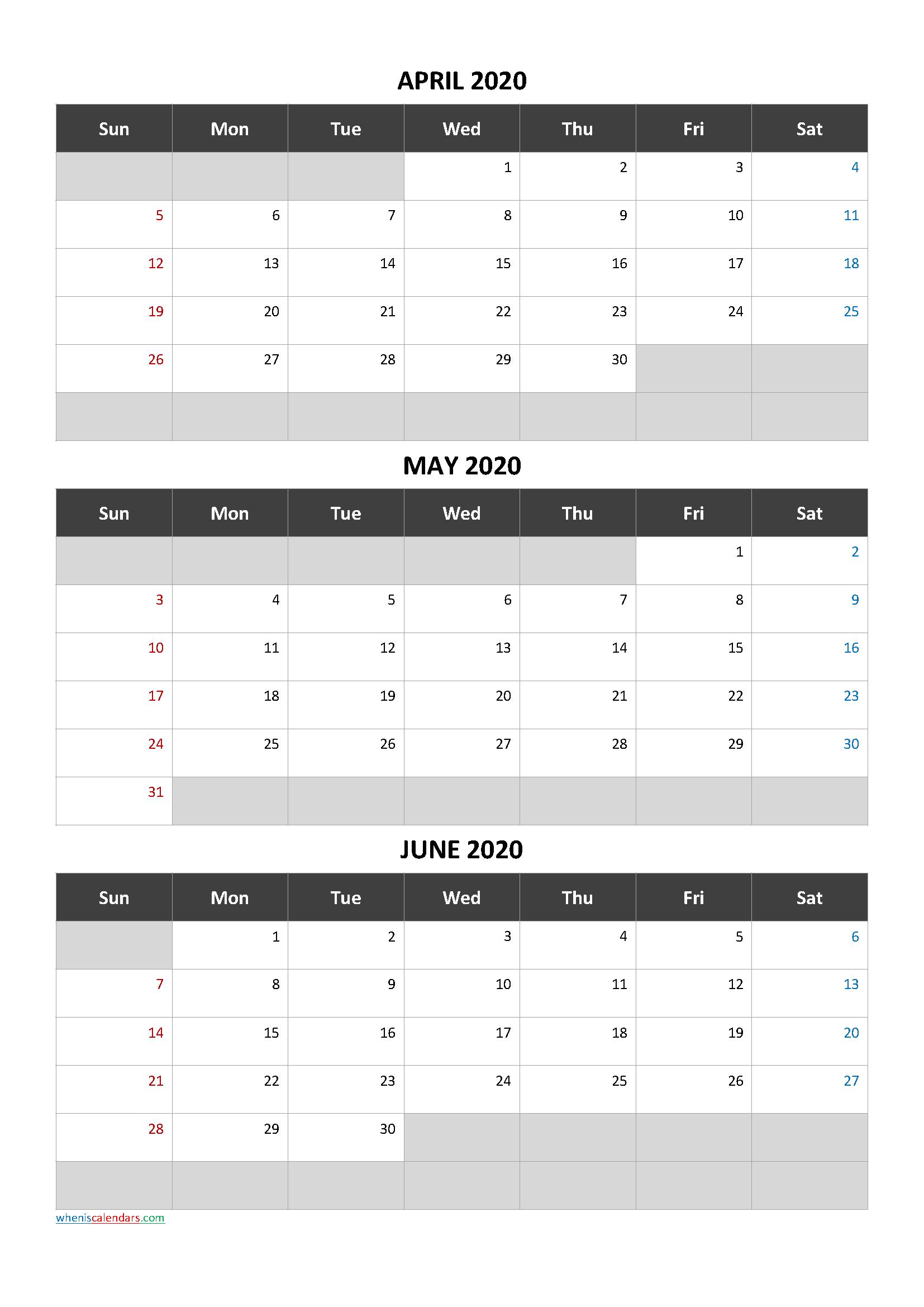 Printable Calendar April May June 2020