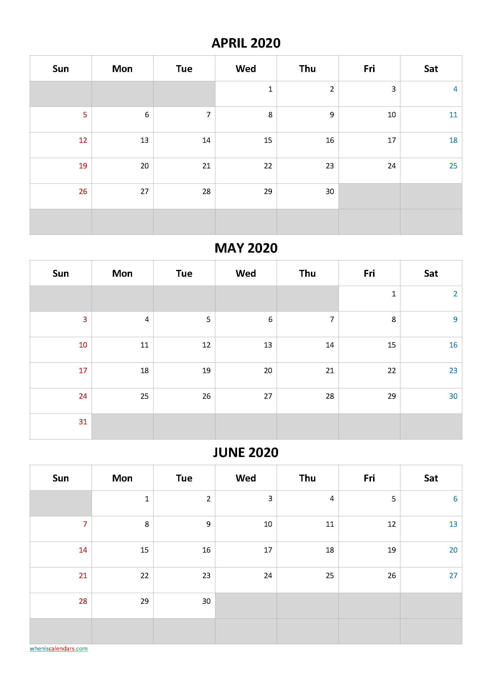 April May June 2020 Free Printable 3 Month Calendar