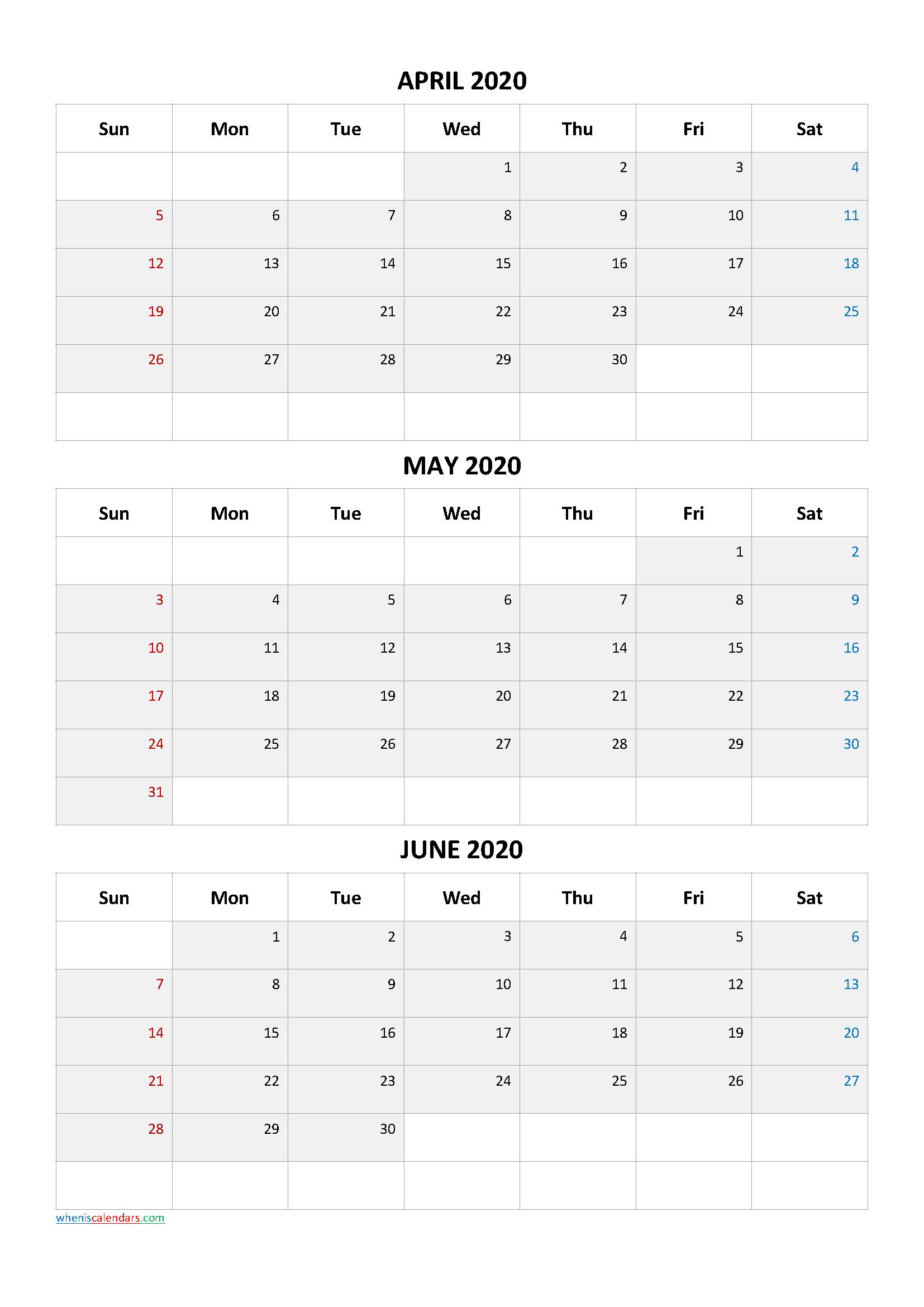 April May June 2021 Three Month Calendar