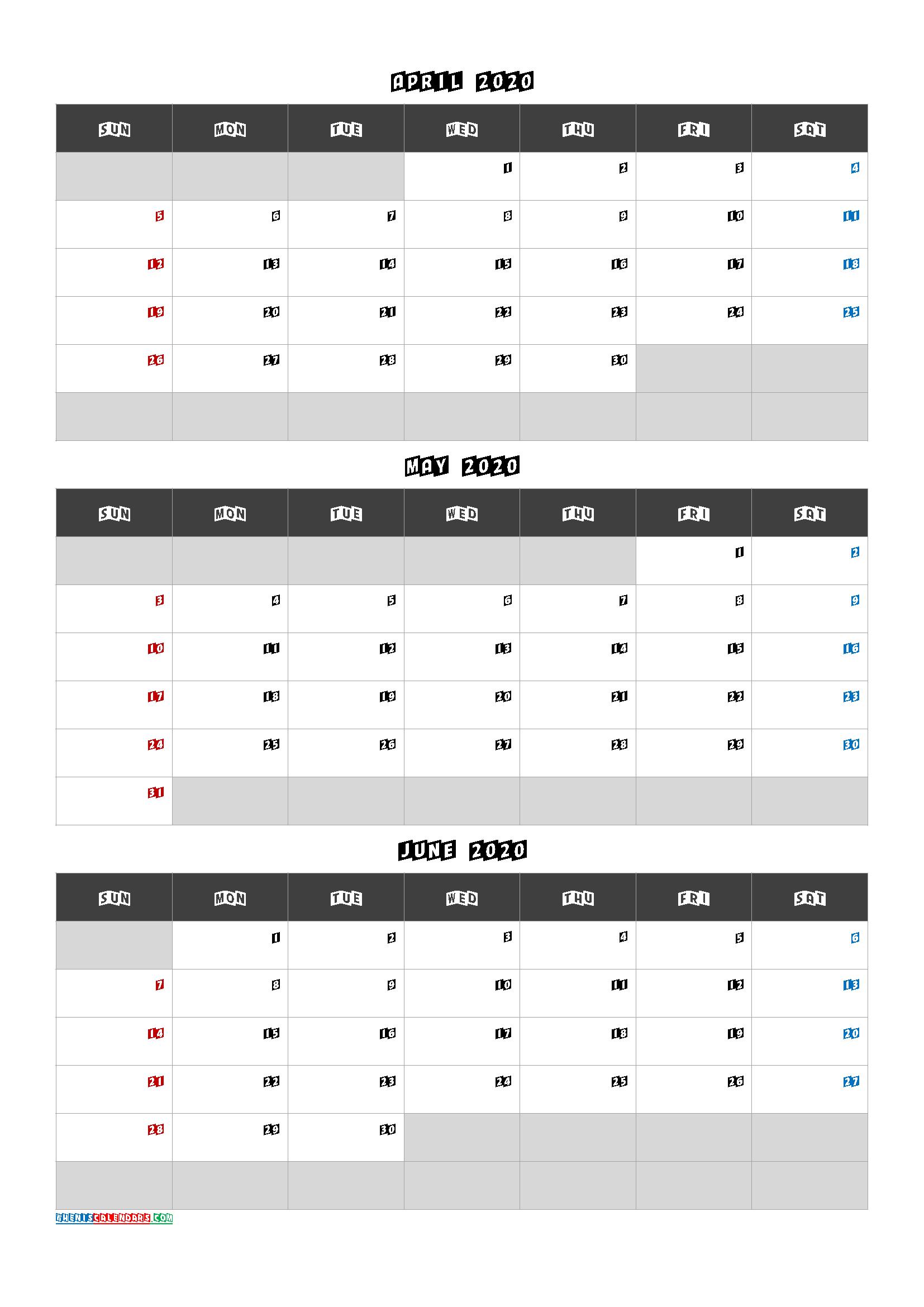 April May June 2020 Calendar Free Download