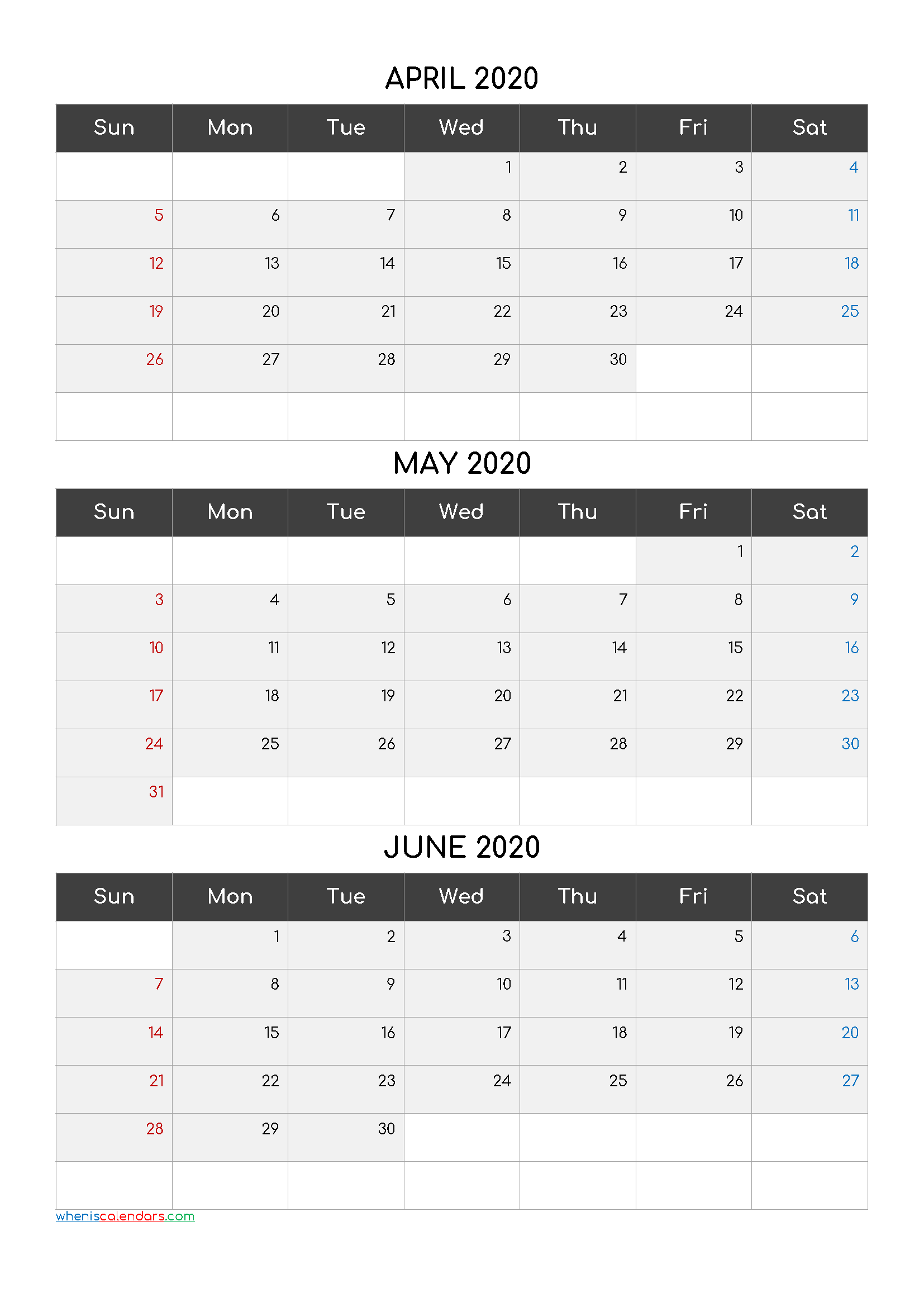 April May June 2020 Printable Calendar