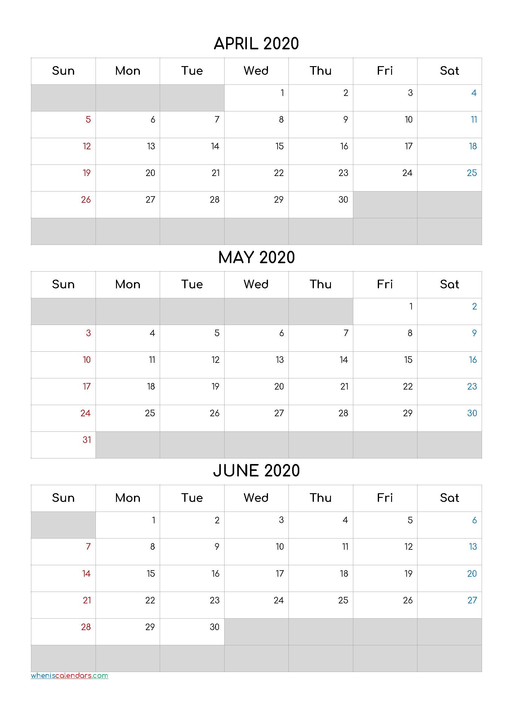 April May June 2020 Free Printable 3 Month Calendar