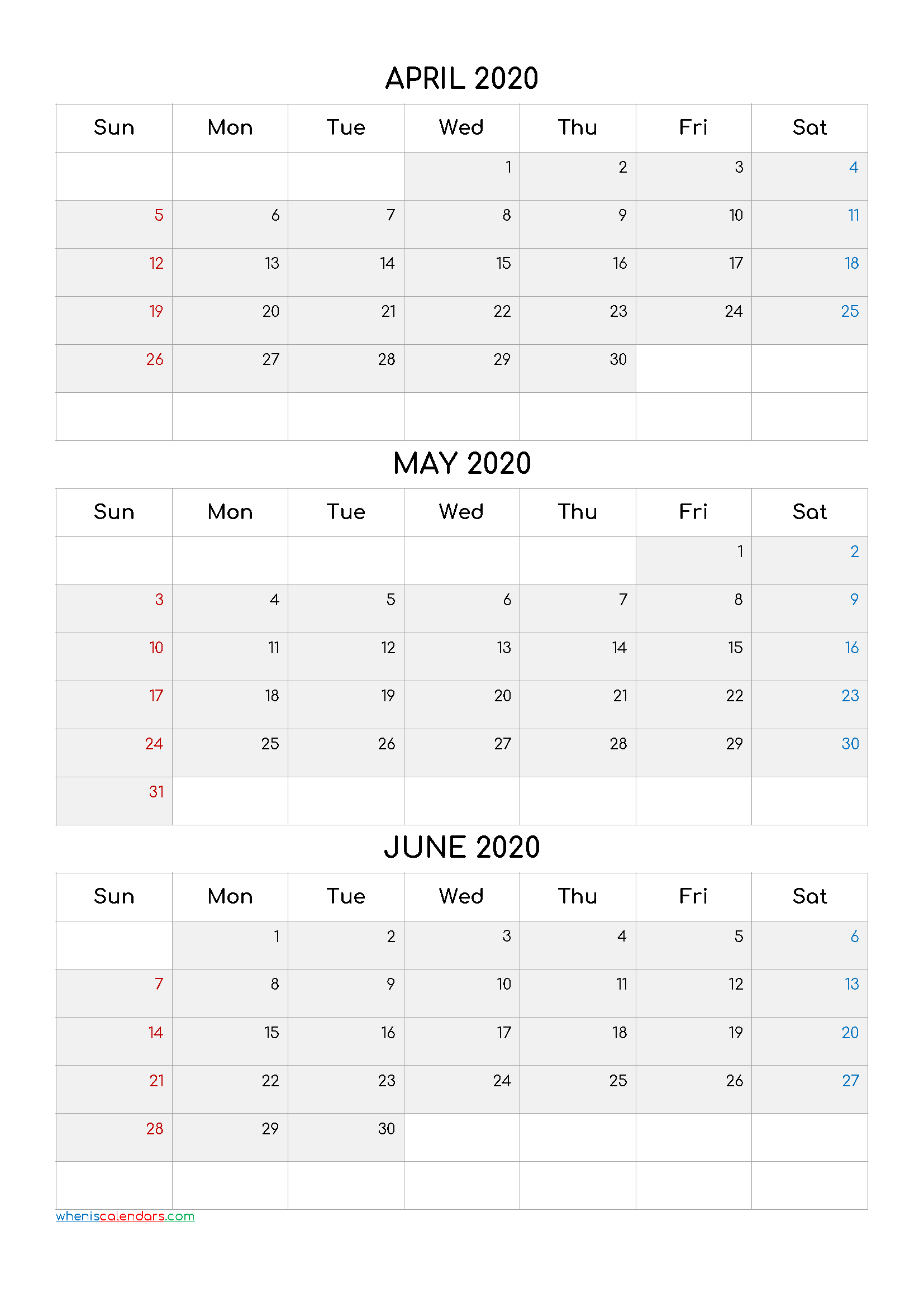 Calendar April May June 2020 PDF