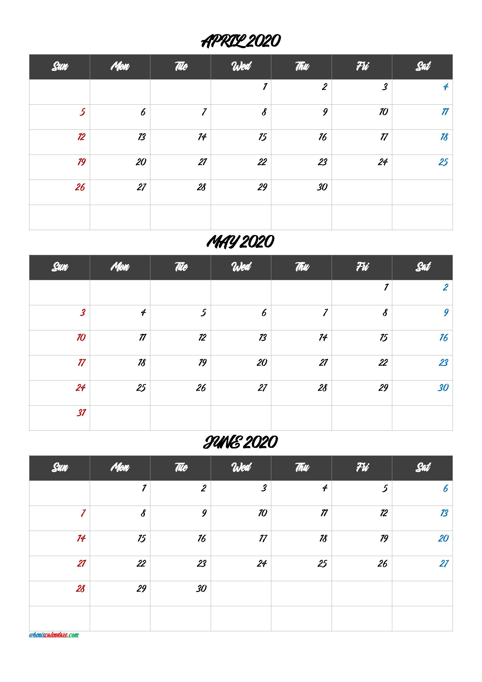 April May June 2020 Calendar Printable
